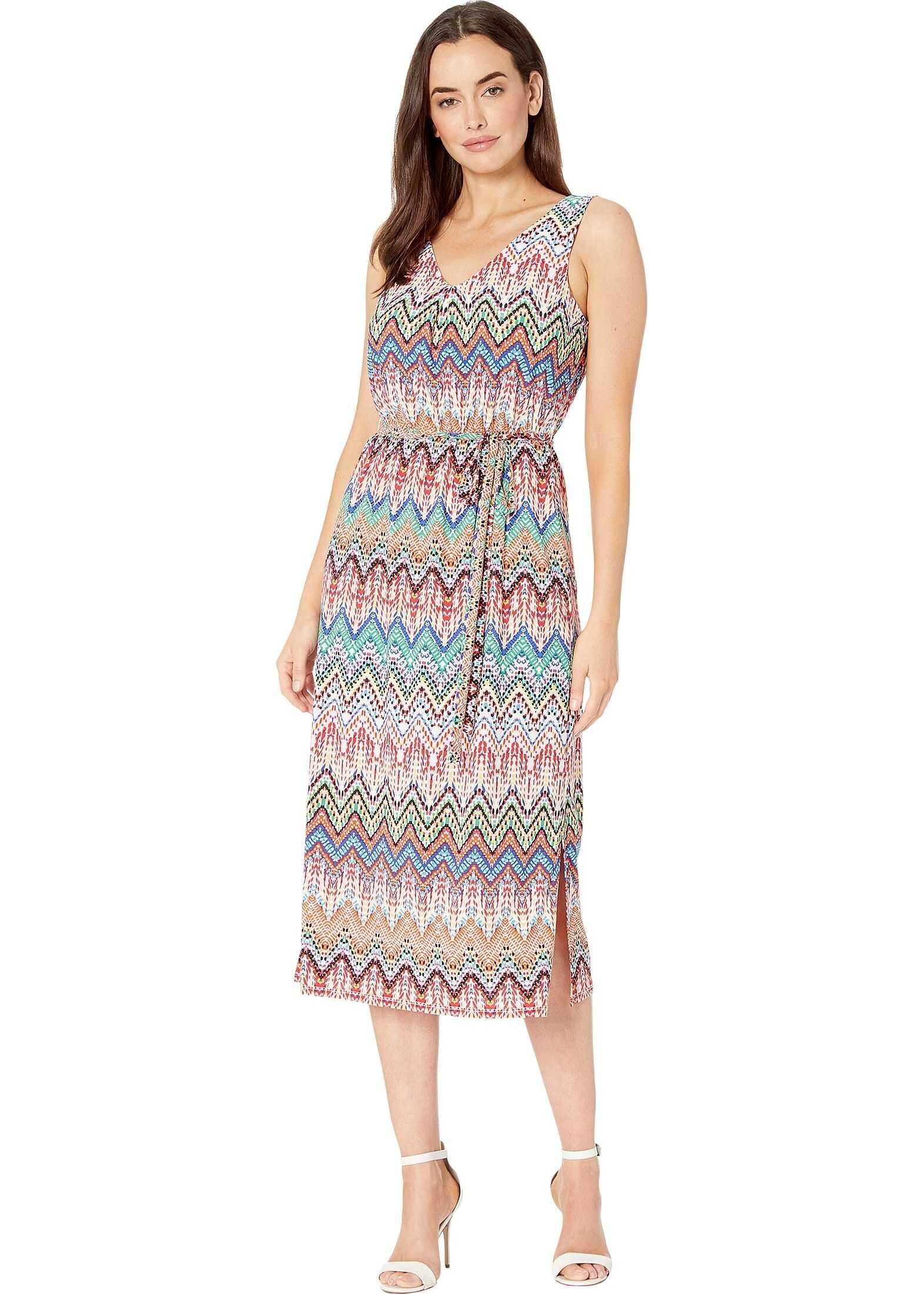 Nine West Ity Chevron Sleeveless Midi Dress w/ Self Sash Mango Multi