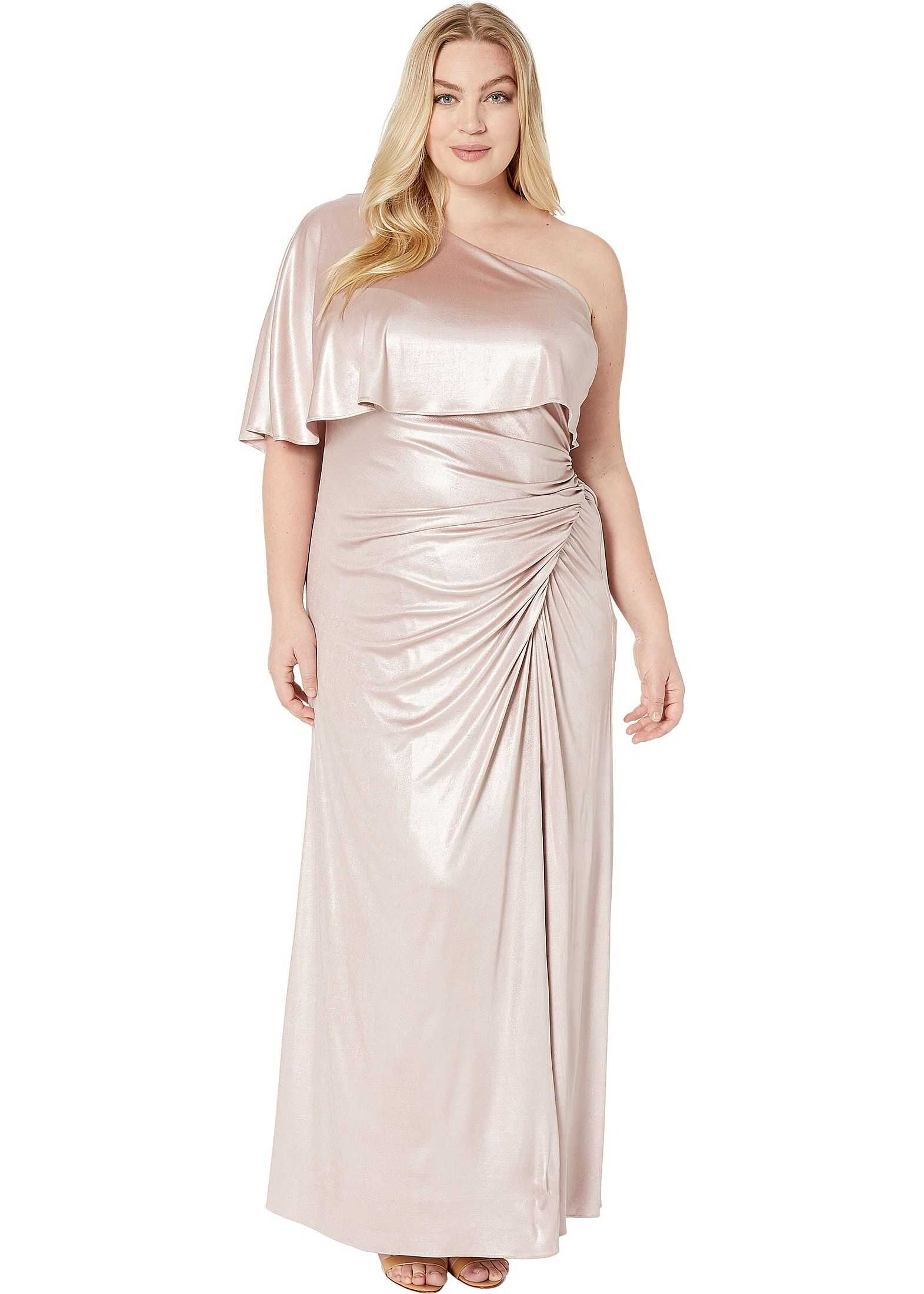 Adrianna Papell Plus Size Metallic Draped Evening Gown Dusted Petal