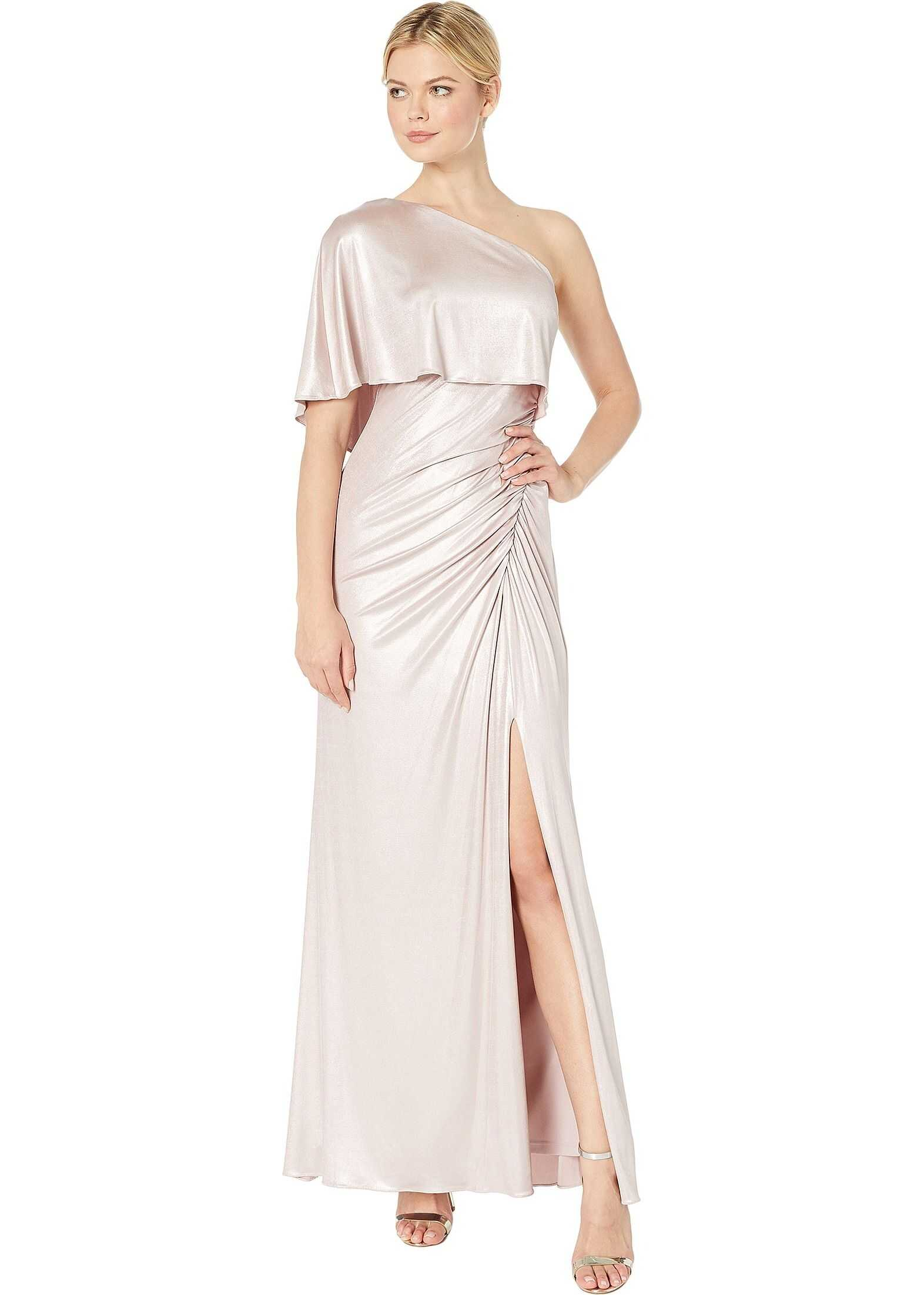 Adrianna Papell Metallic Draped One Shoulder Evening Gown Dusted Petal