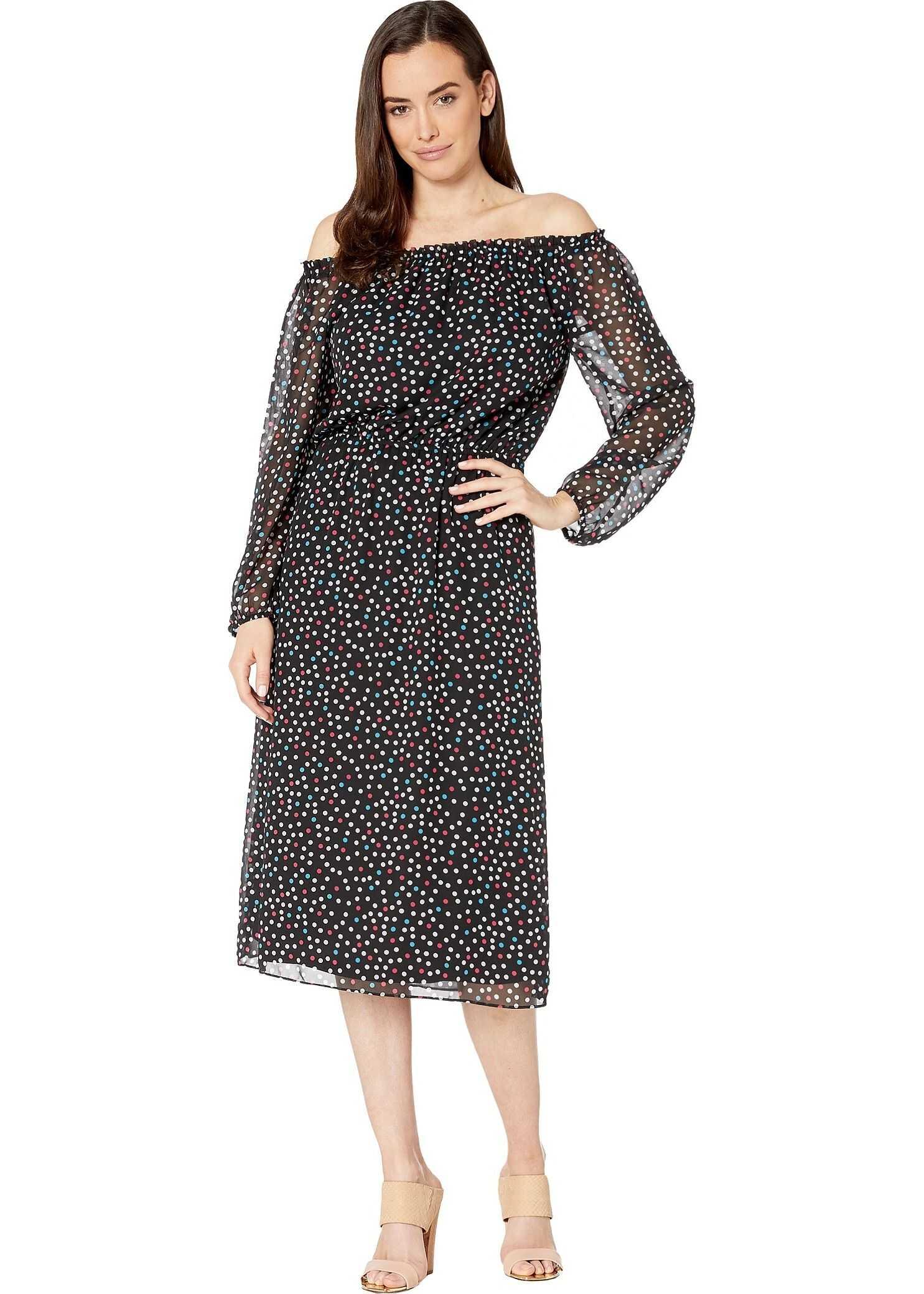 Nine West Sprinkle Dot Midi Long Sleeve Peasant Dress Black/Honolulu Multi