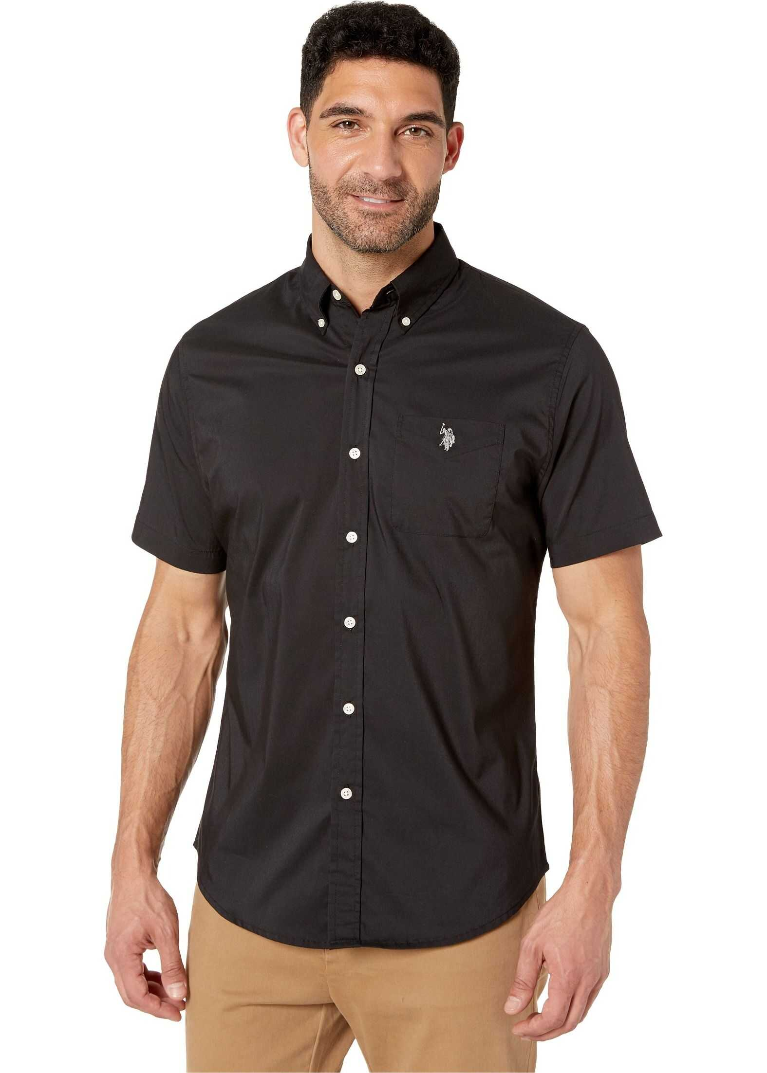 U.S. POLO ASSN. Solid Stretch Button Down Black