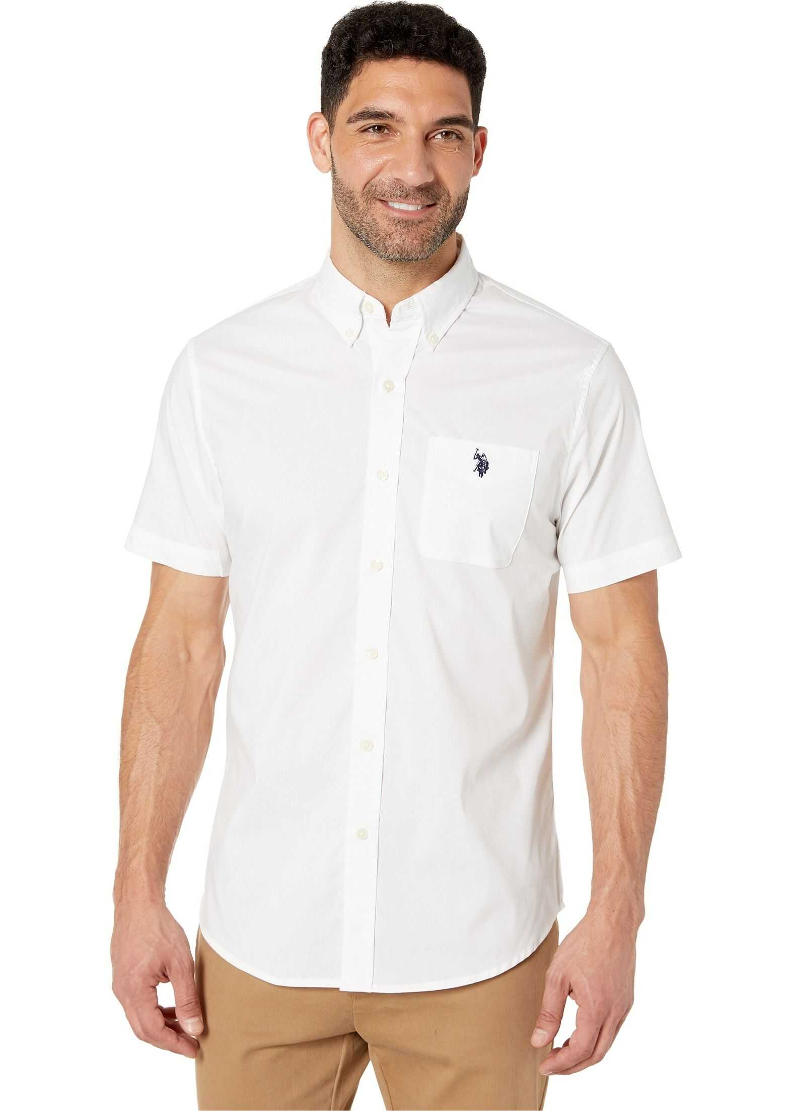 U.S. POLO ASSN. Solid Stretch Button Down Optic White