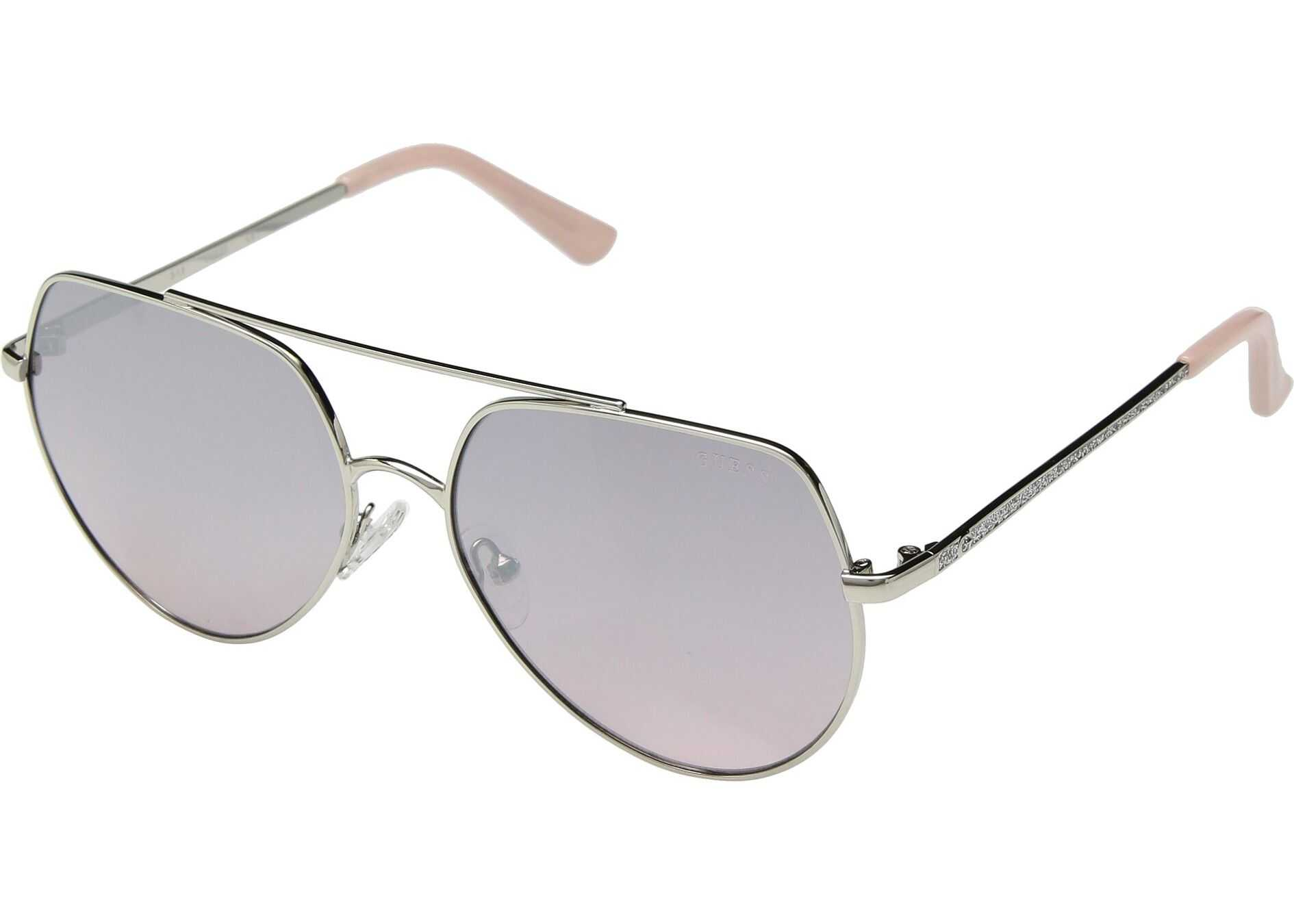 GUESS GF6057 Shiny Silver/Pink Gradient Flash Lens