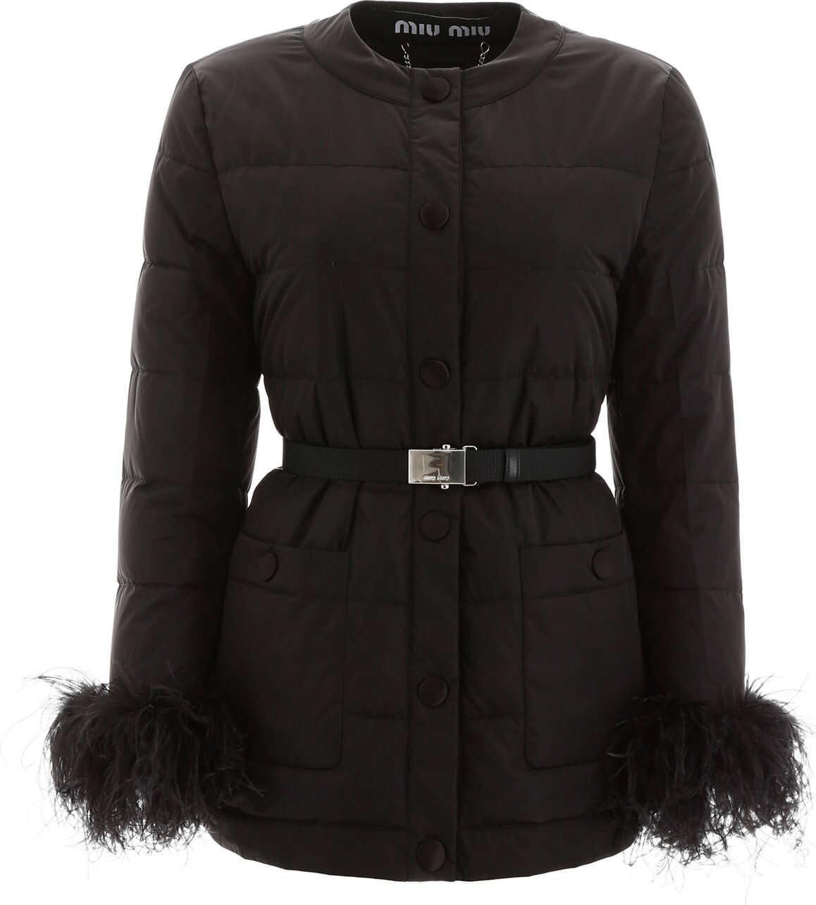 Miu Miu Puffer Jacket With Ostrich Feathers NERO