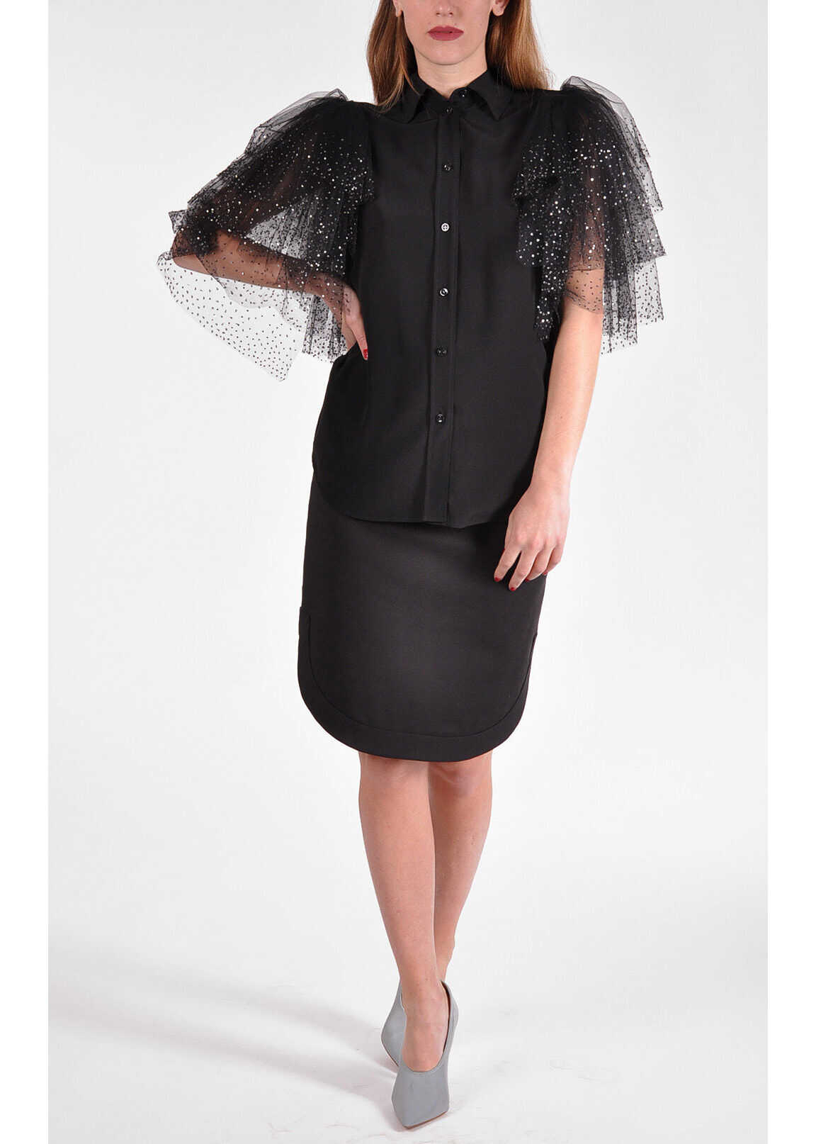 Givenchy Silk Blouse with Tulle and Sequins BLACK