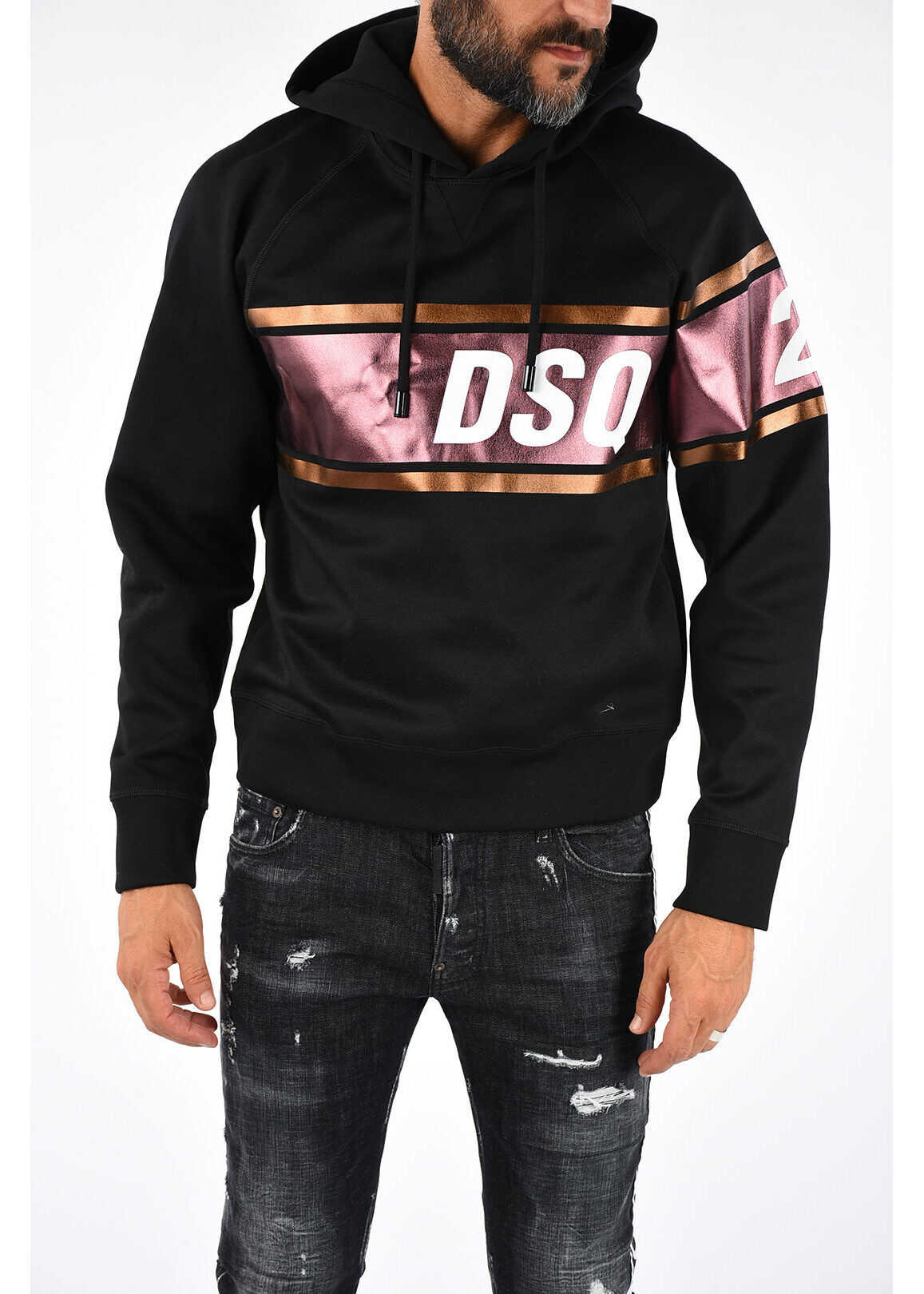 DSQUARED2 Printed Hooded COOL FIT Sweatshirt BLACK
