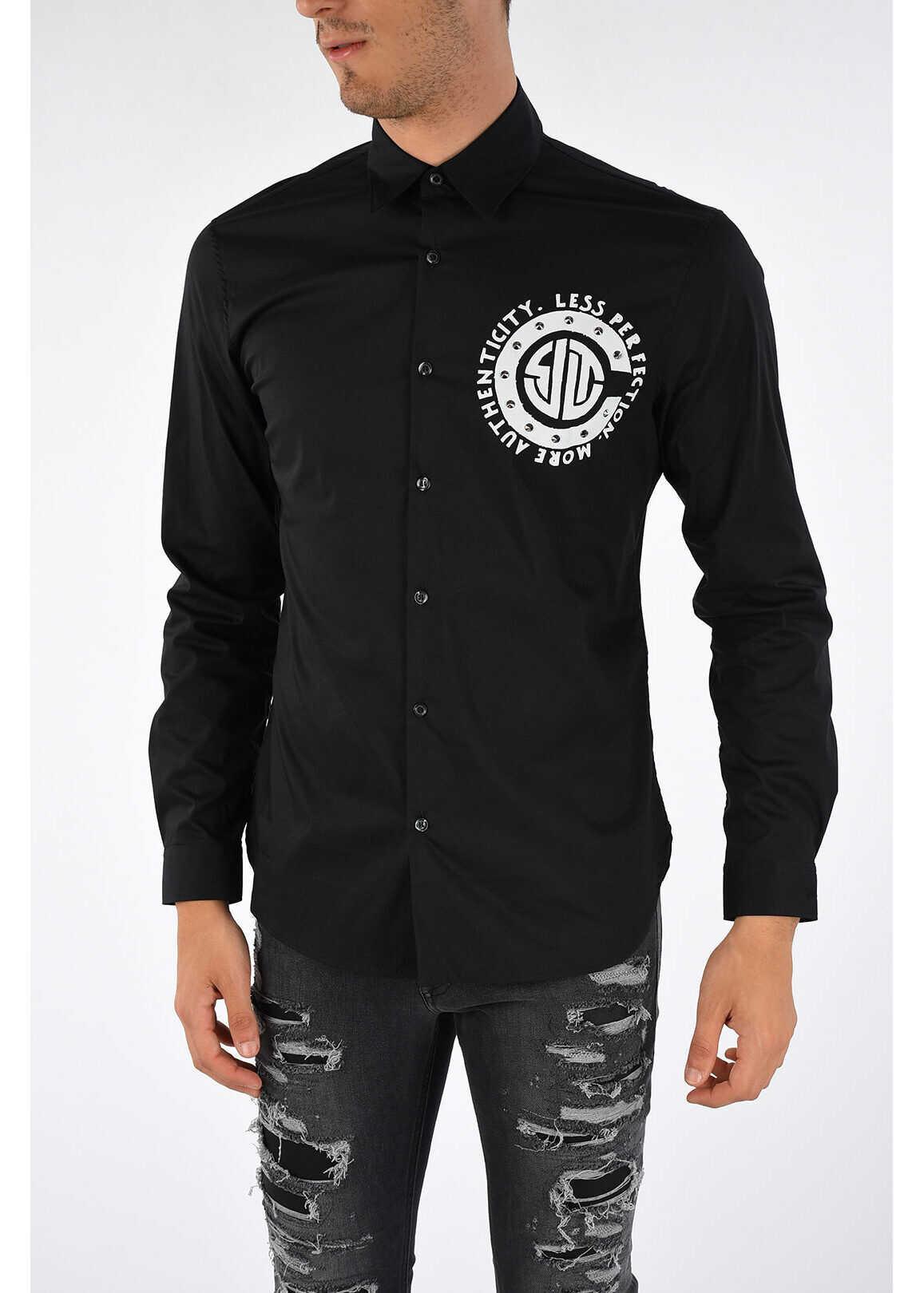 Just Cavalli Printed Shirt with Studs BLACK