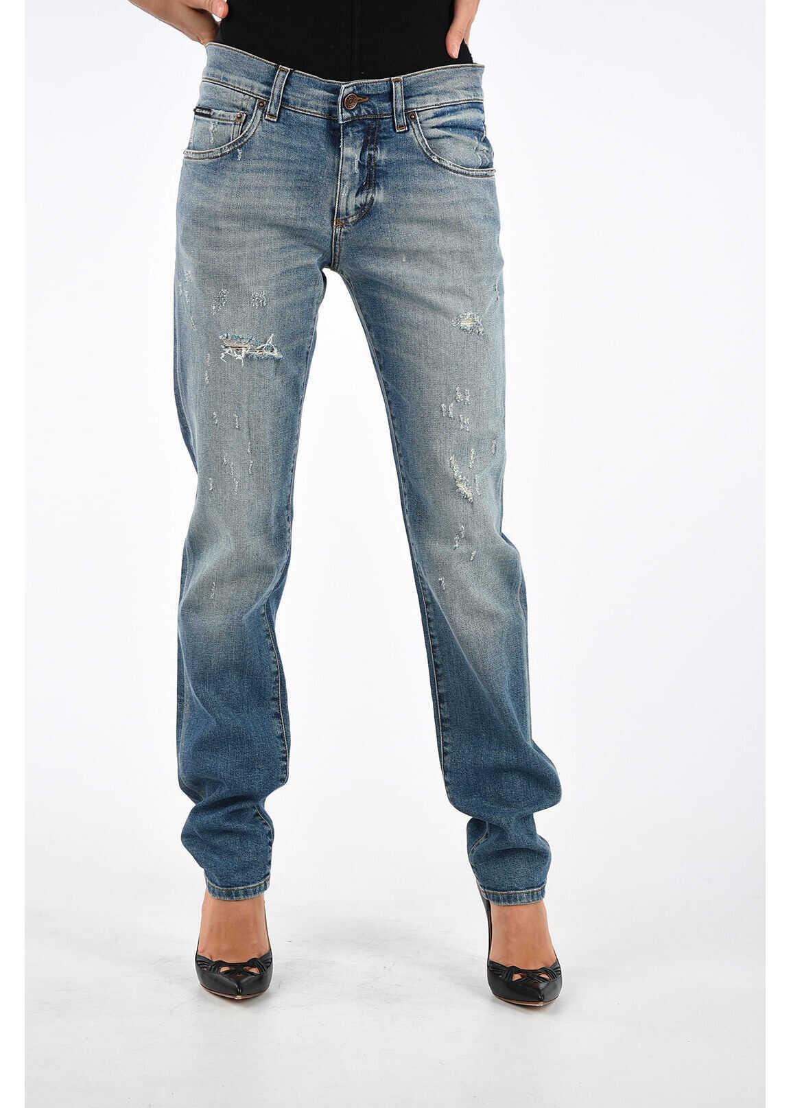 Dolce & Gabbana 15,5cm Denim Stretch Distressed CLASSIC Jeans BLUE