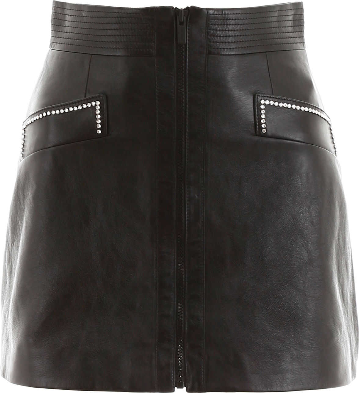 Miu Miu Leather Mini Skirt With Crystals NERO