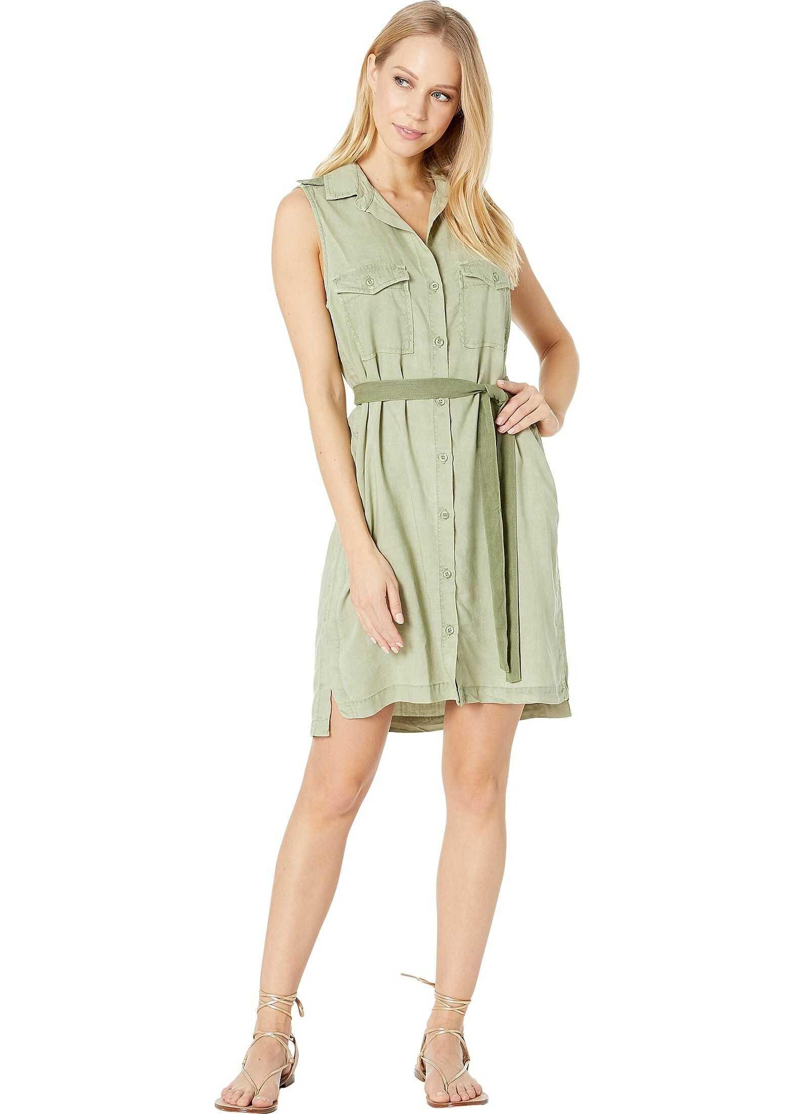 bella dahl Sleeveless Patch Pocket Shirtdress Spring Vine