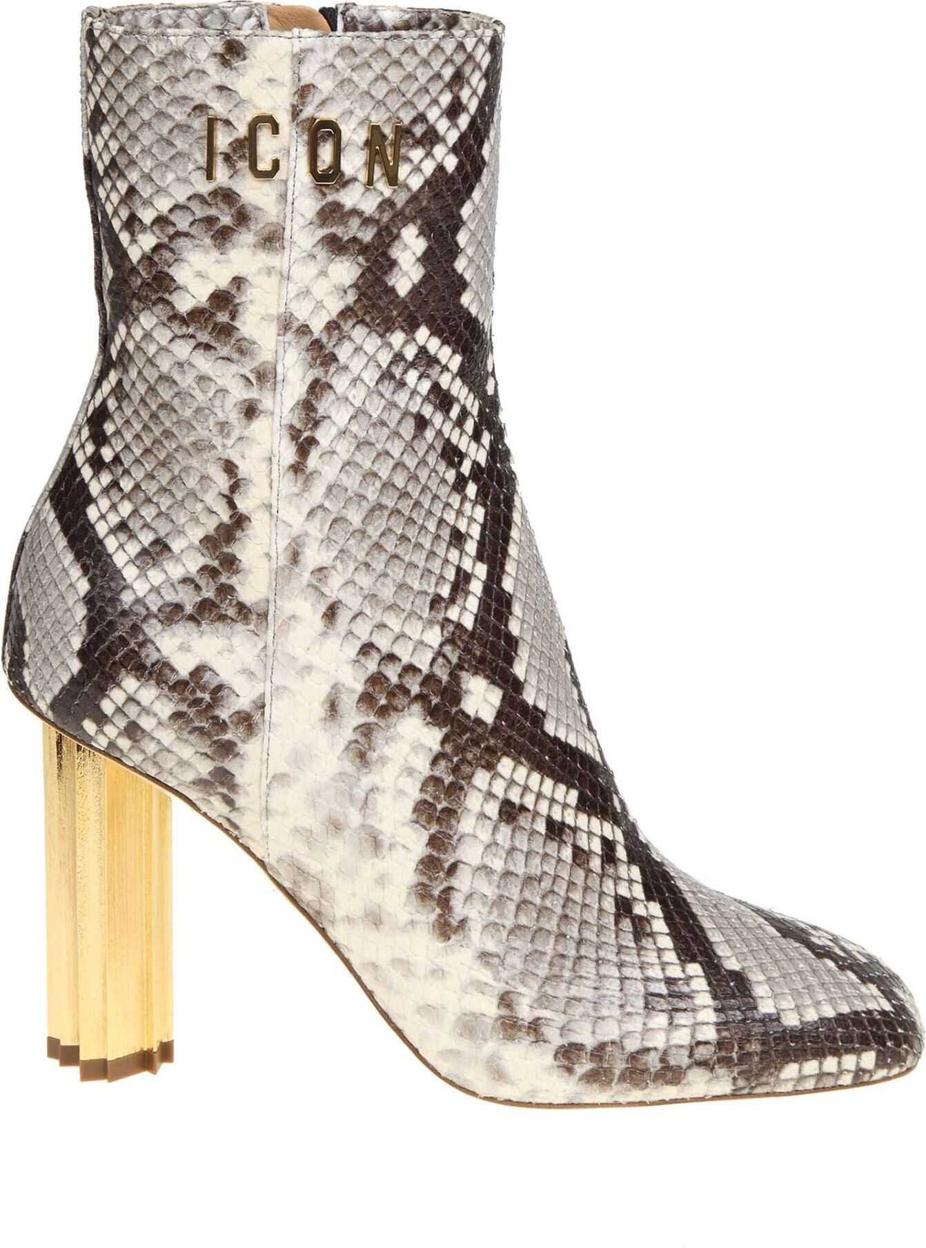 DSQUARED2 Animal Printed Leather Ankle Boots Animal print