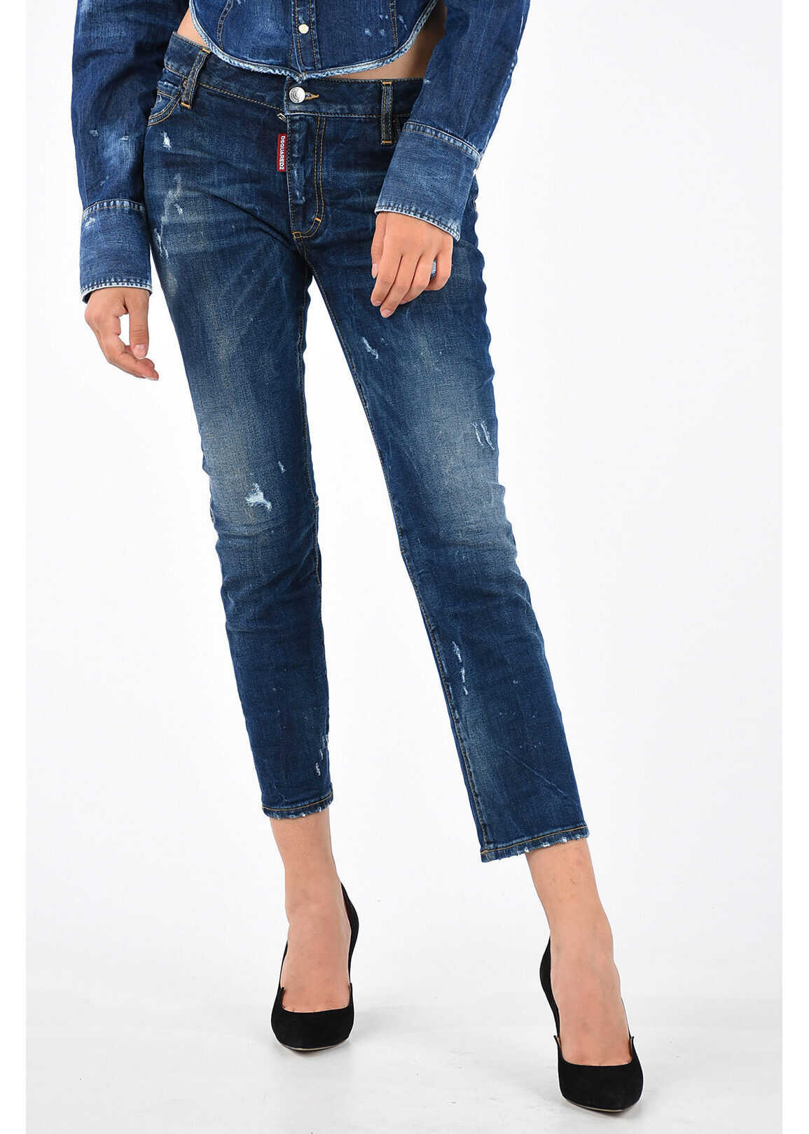 DSQUARED2 18cm Stretch Denim RUNWAY FLARE CROPPED Jeans BLUE