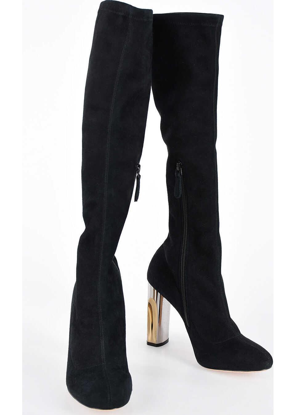 Alexander McQueen 10cm Suede Leather Boots BLACK