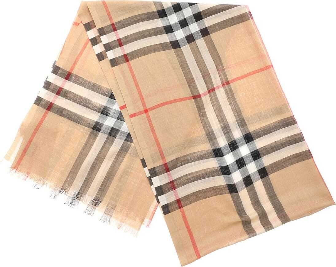 Burberry Giant Lightweight Scarf In Camel Check Camel