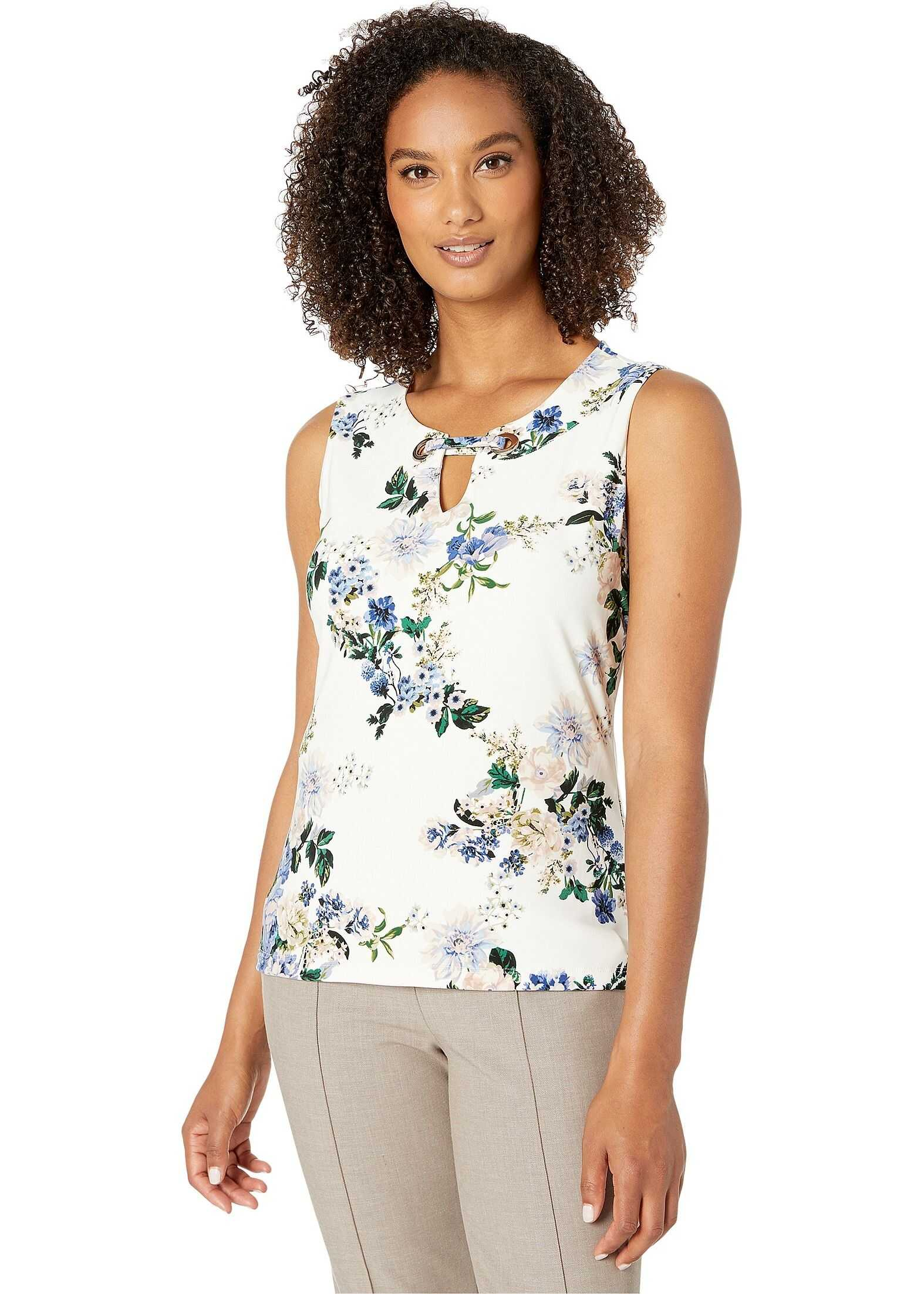 Floral Grommet Sleeveless Knit Top