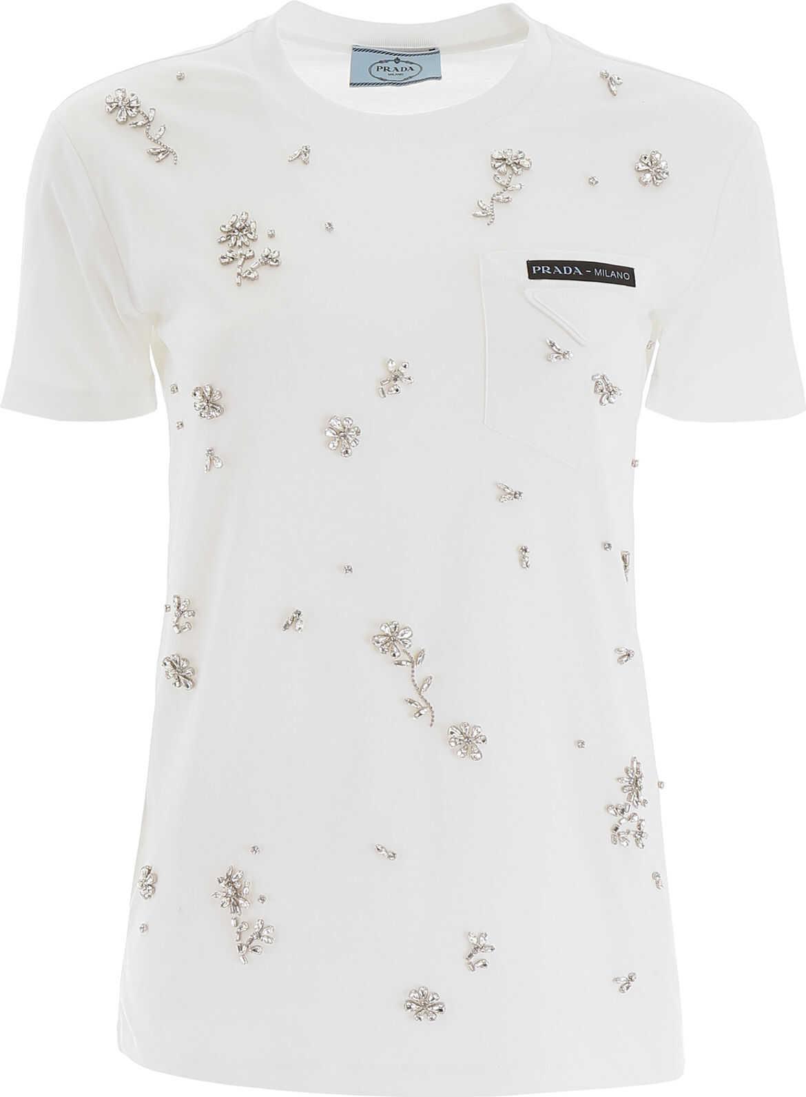 Prada Crystal T-Shirt BIANCO