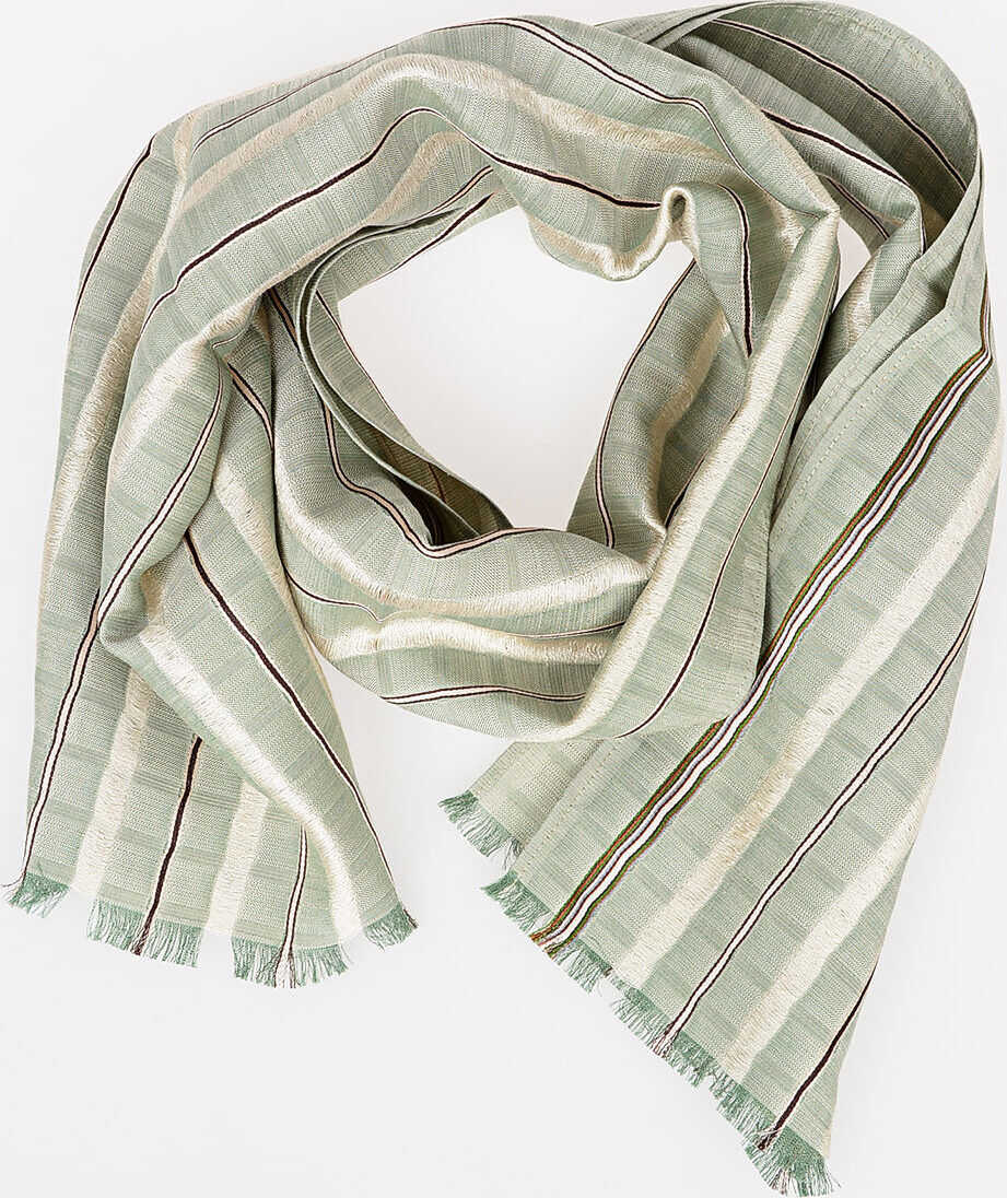 Paul Smith 134x30cm Striped Silk Foulard GREEN