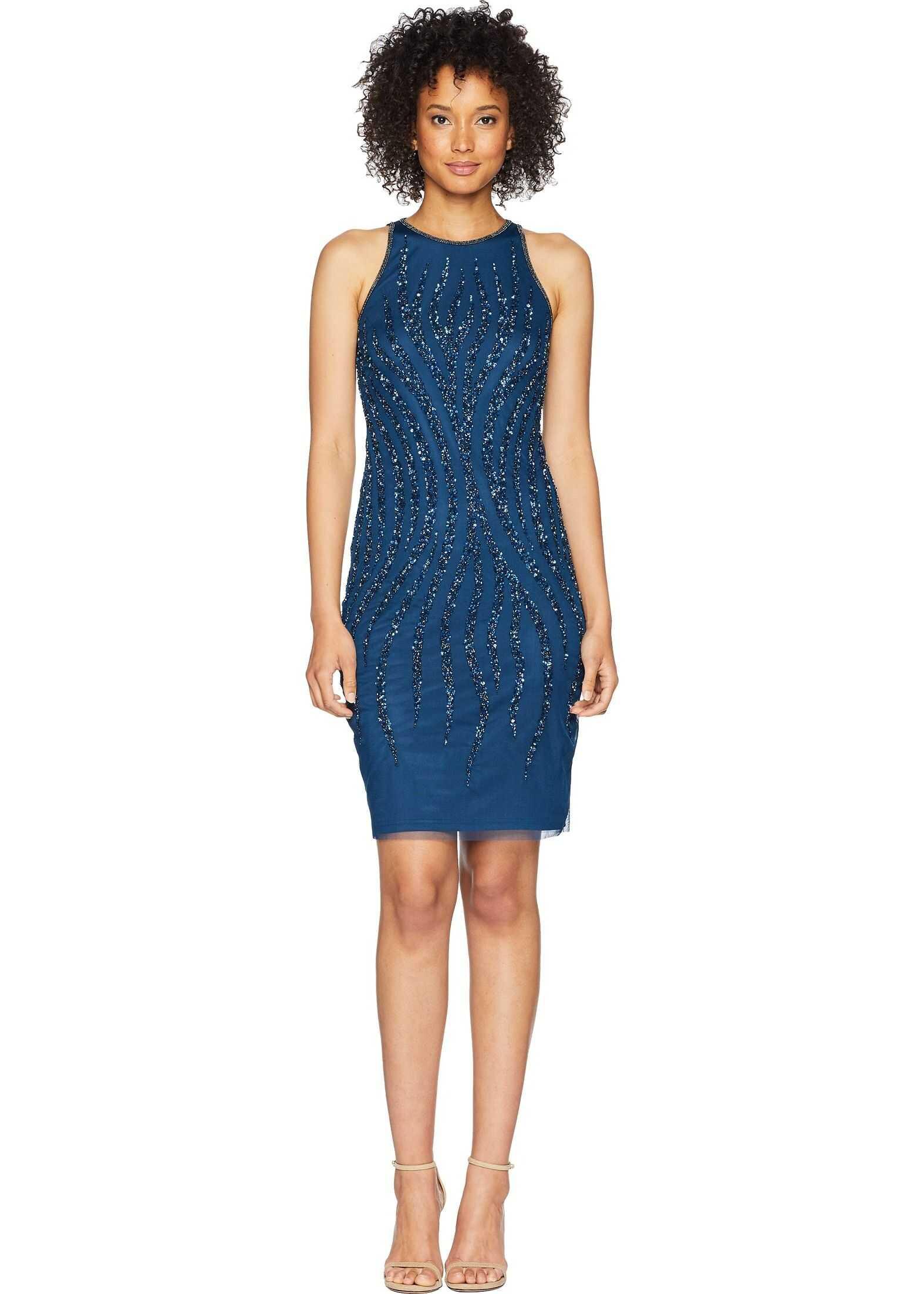 Adrianna Papell Beaded Halter Cocktail Dress* Deep Blue