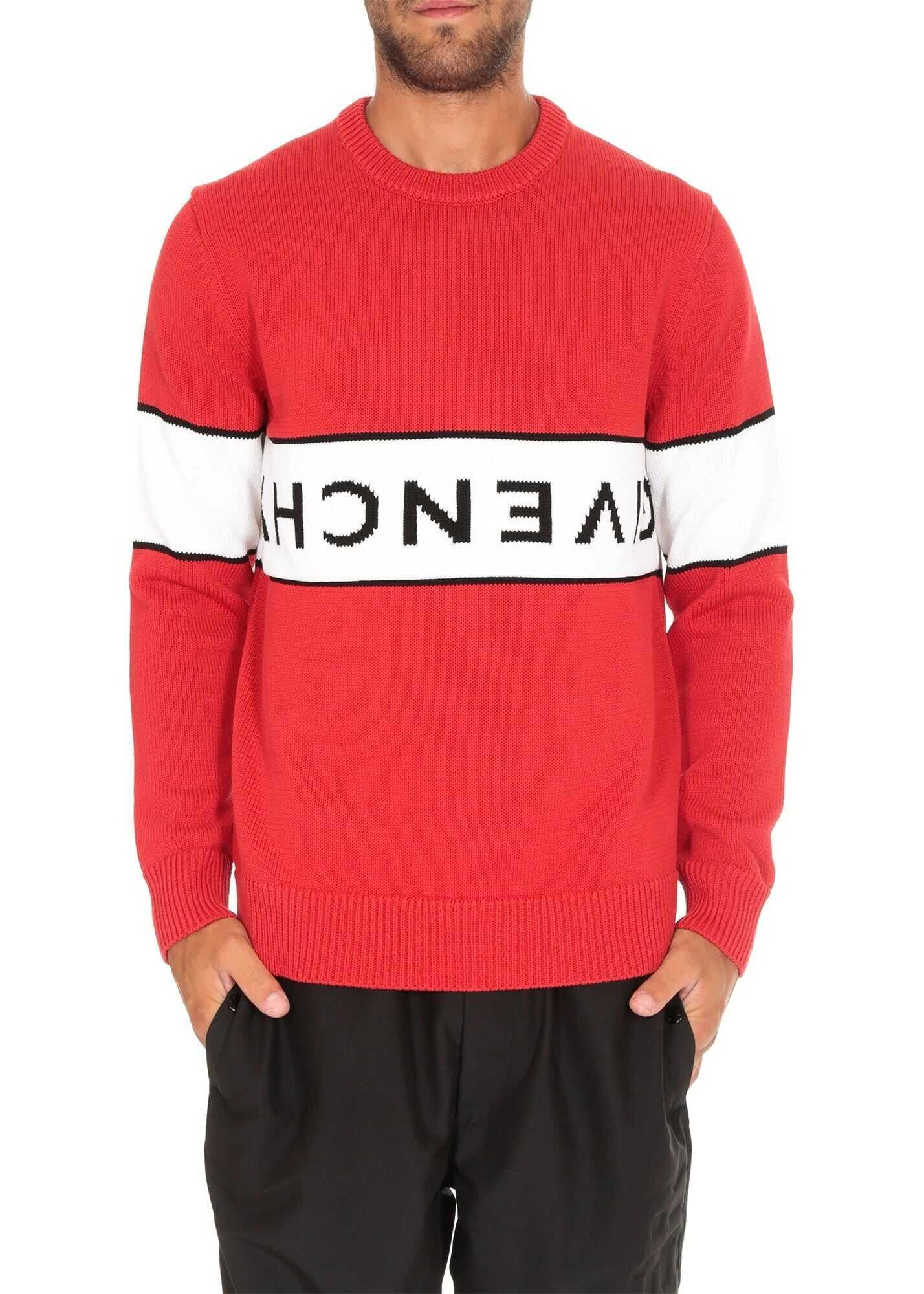 Givenchy Pullover In Red With Upside Down Givenchy Logo Red