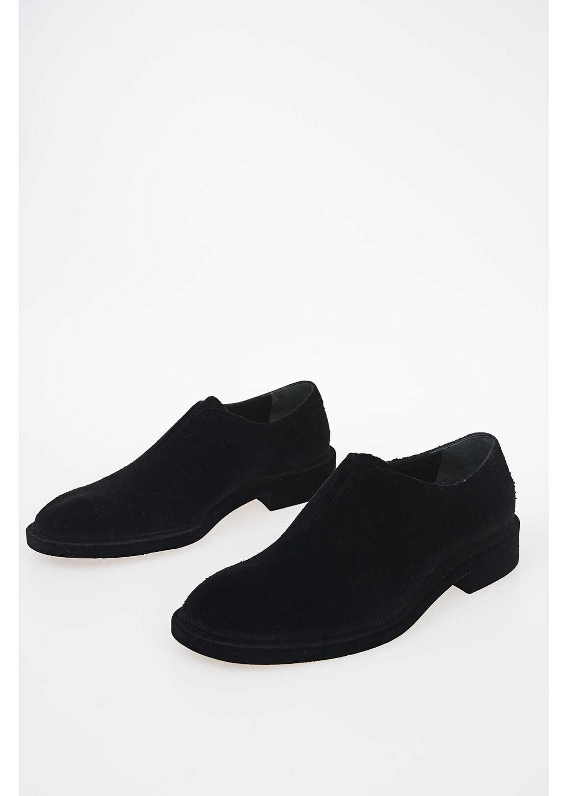 Maison Margiela MM22 Velvet Coated Leather derby shoes BLACK imagine b-mall.ro
