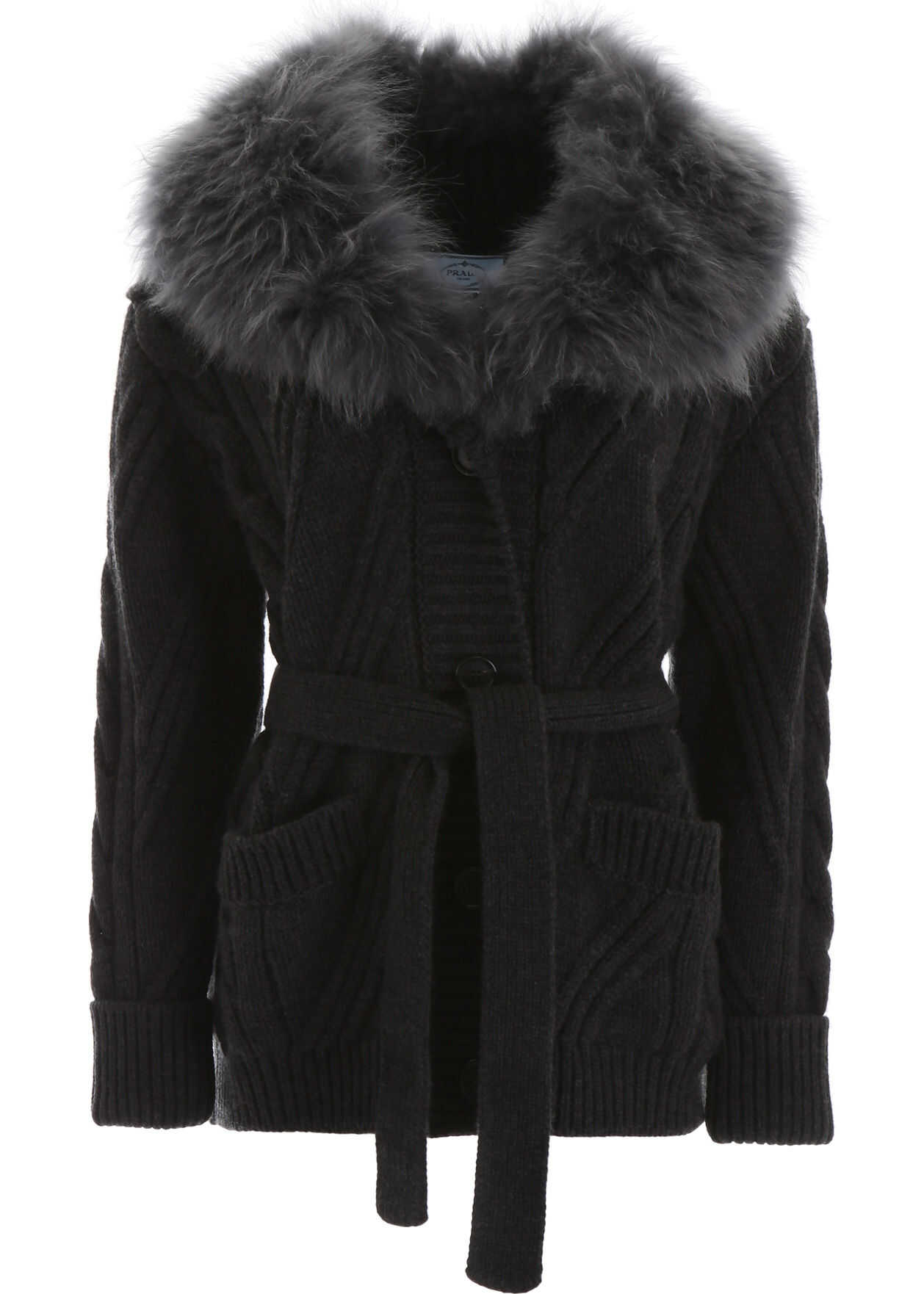 Prada Maxi Cardigan With Fur ANTRACITE