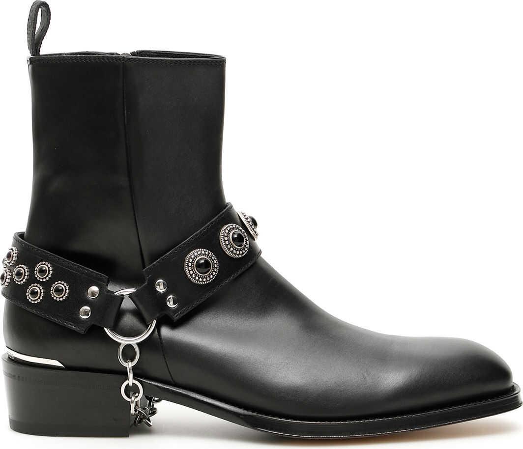 Alexander McQueen Harness Booties BLACK BLACK SILVER