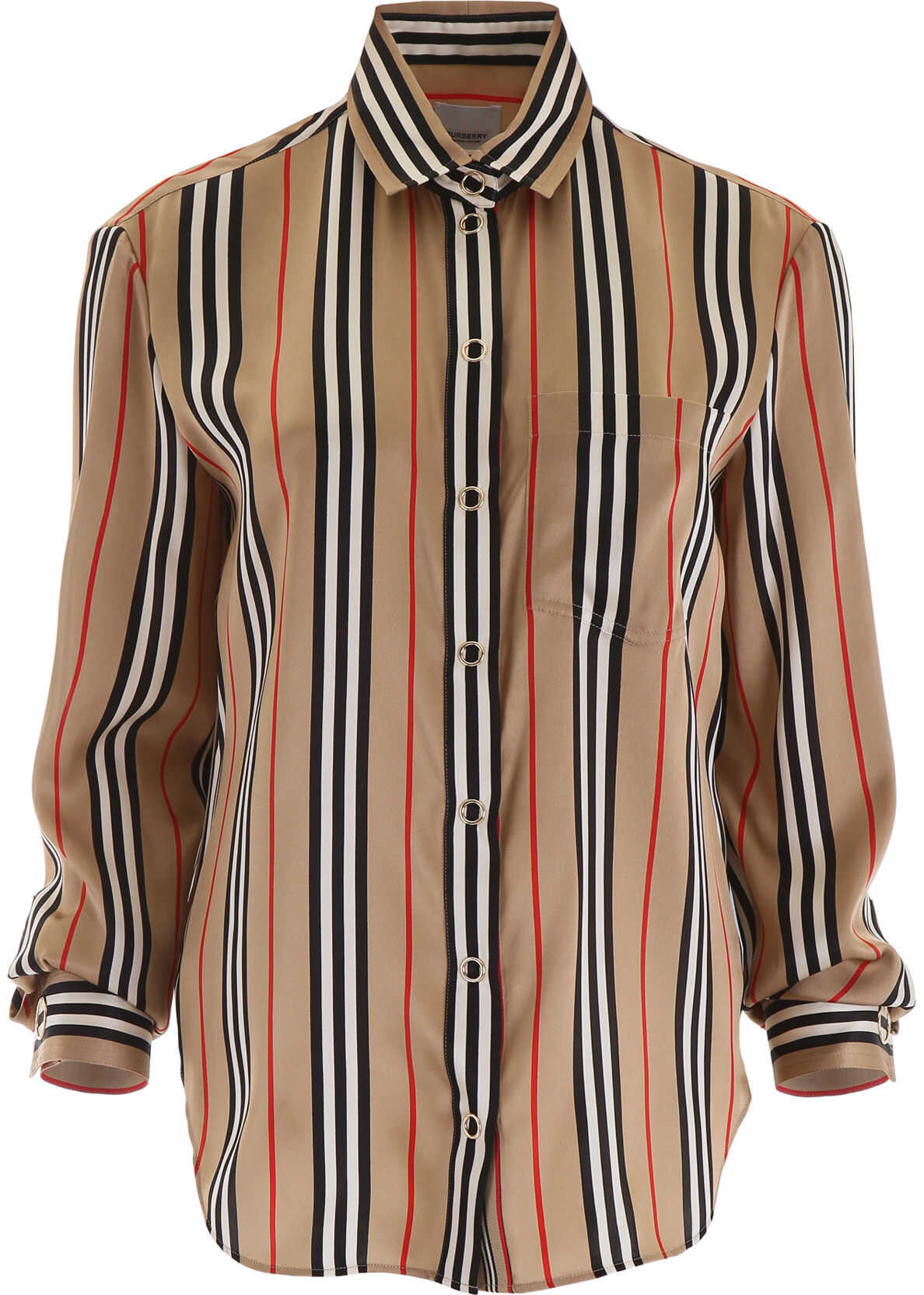 Burberry Striped Silk Shirt ARCHIVE BEIGE IP S