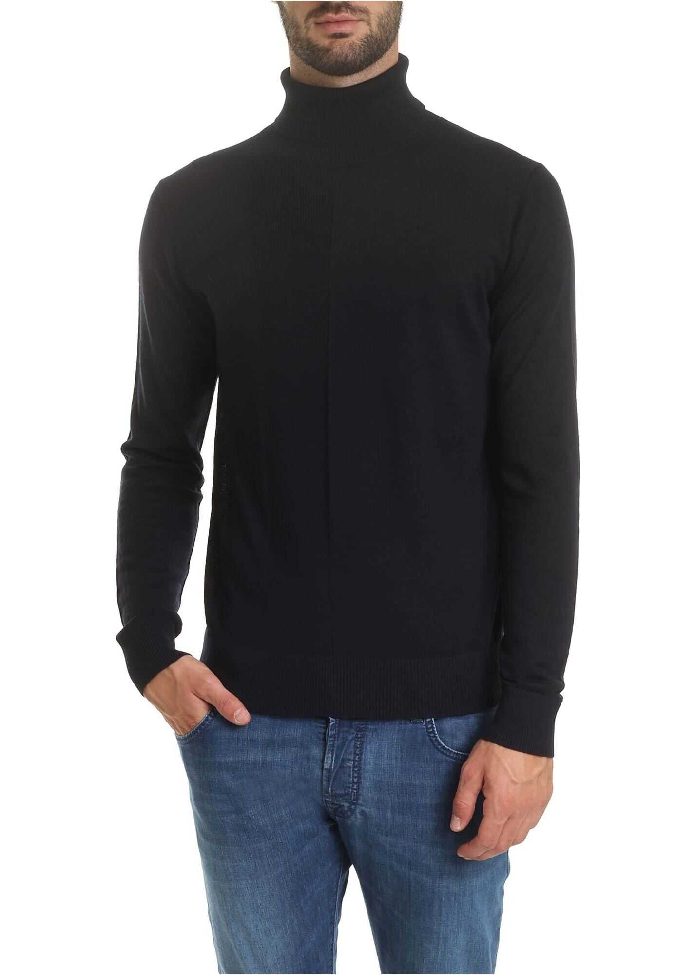 Emporio Armani Turtleneck In Blue Virgin Wool Blue