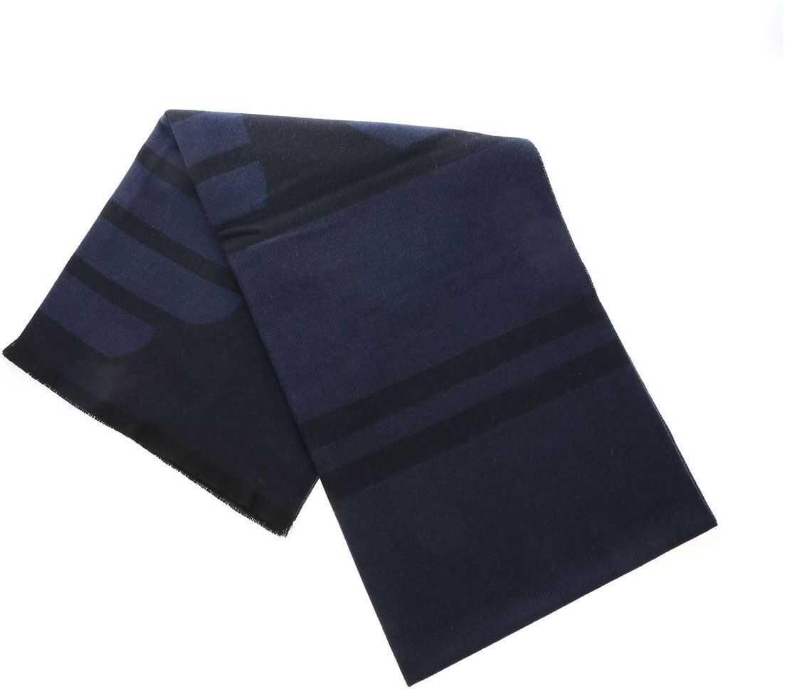 Emporio Armani Black And Blue Jacquard Scarf With Logo Blue