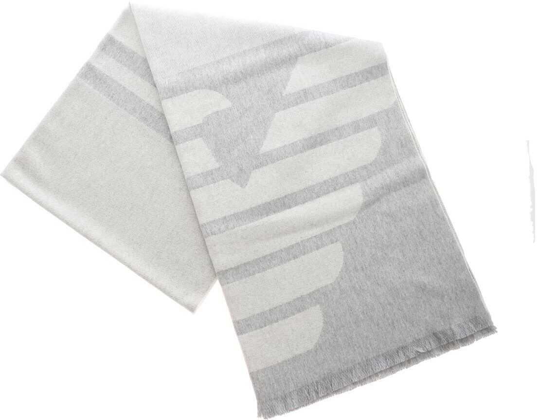Emporio Armani Jacquard Scarf In Grey With Logo Grey