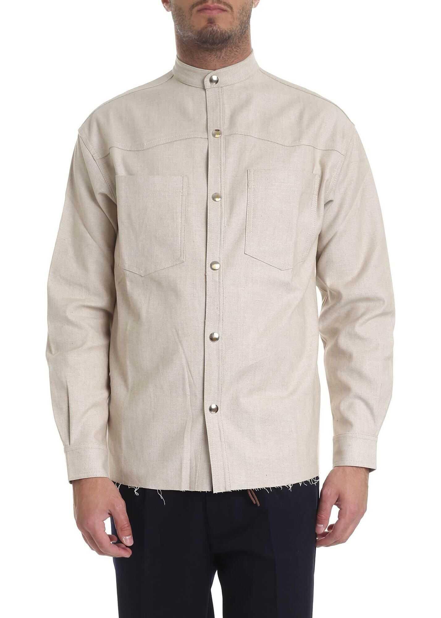Ribbon Clothing Mandarin Collar Shirt In Melange Beige Beige imagine