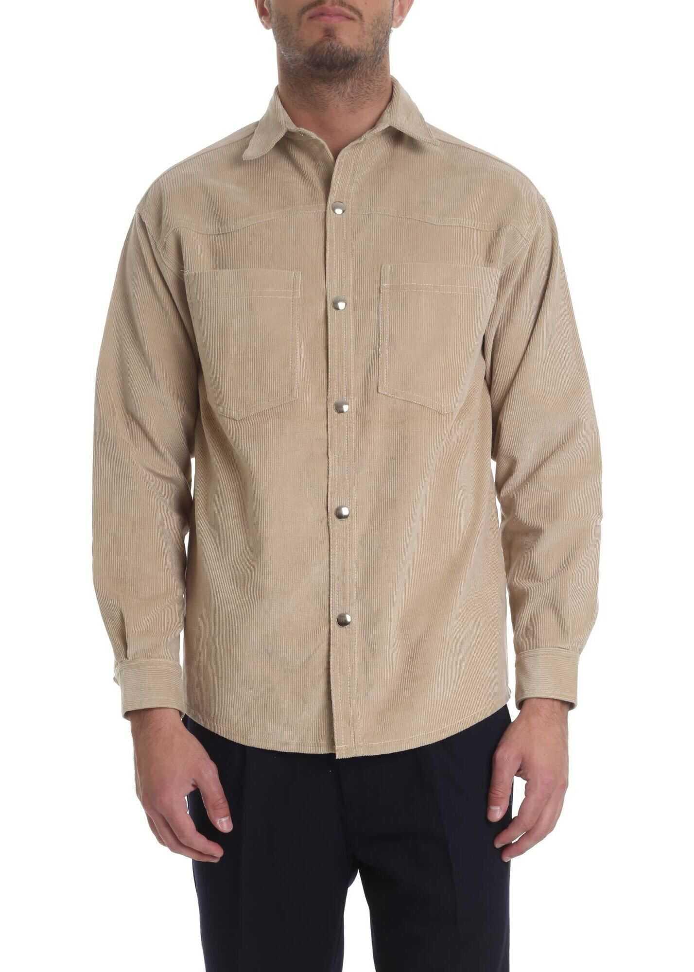 Ribbon Clothing Corduroy Cotton Shirt In Beige Beige imagine
