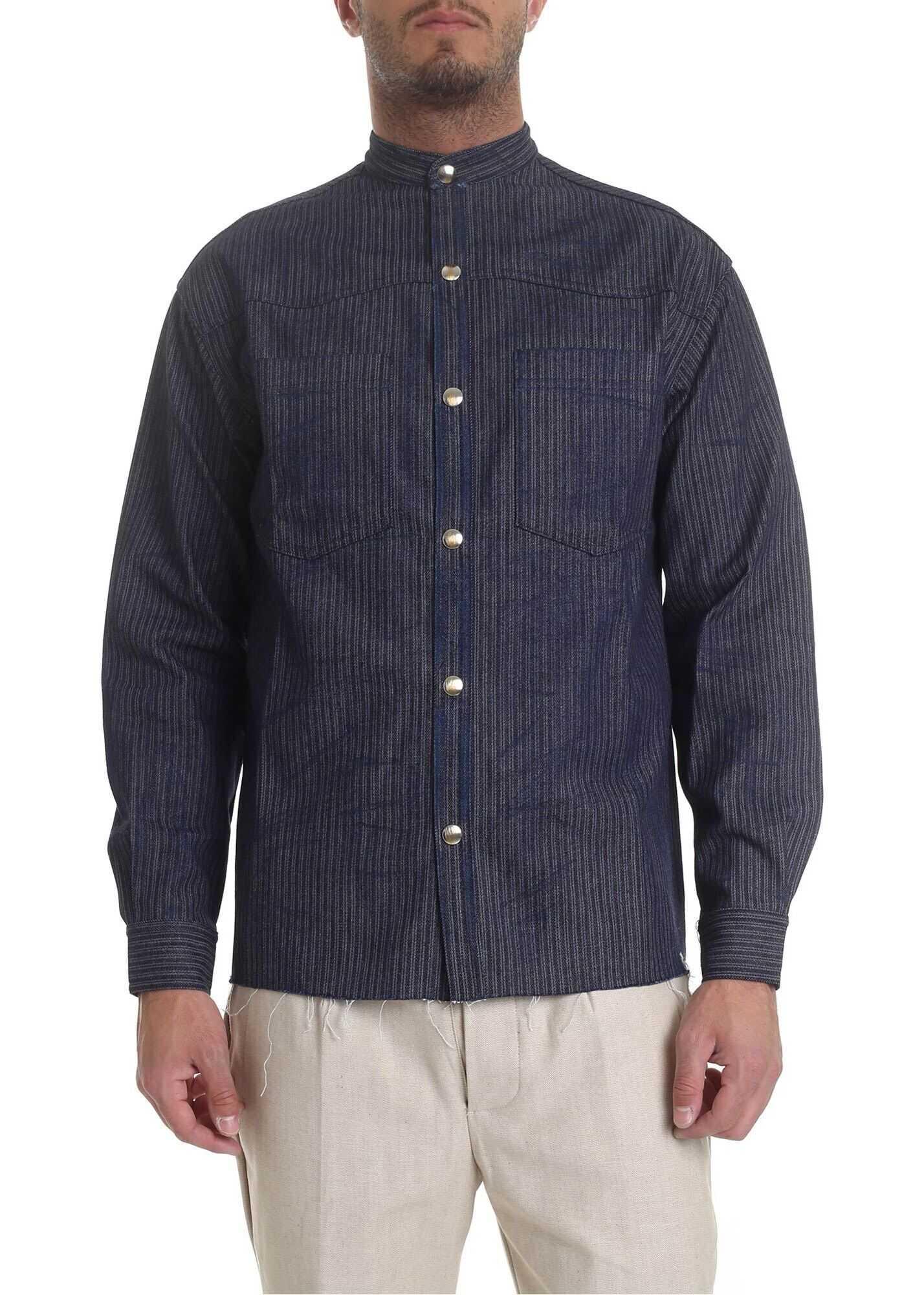 Ribbon Clothing Mandarin Collar Shirt In Blue With Stripes Blue imagine