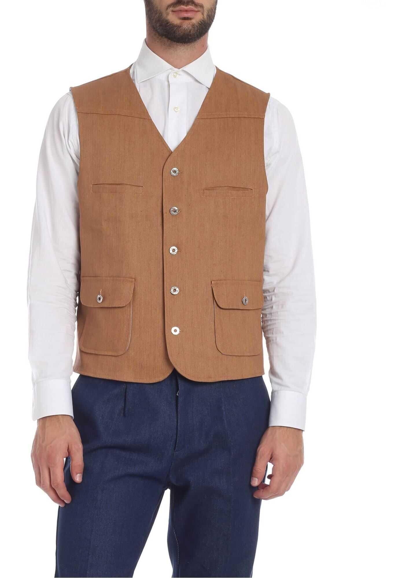 Ribbon Clothing Four-Pocket Brown Vest Brown imagine