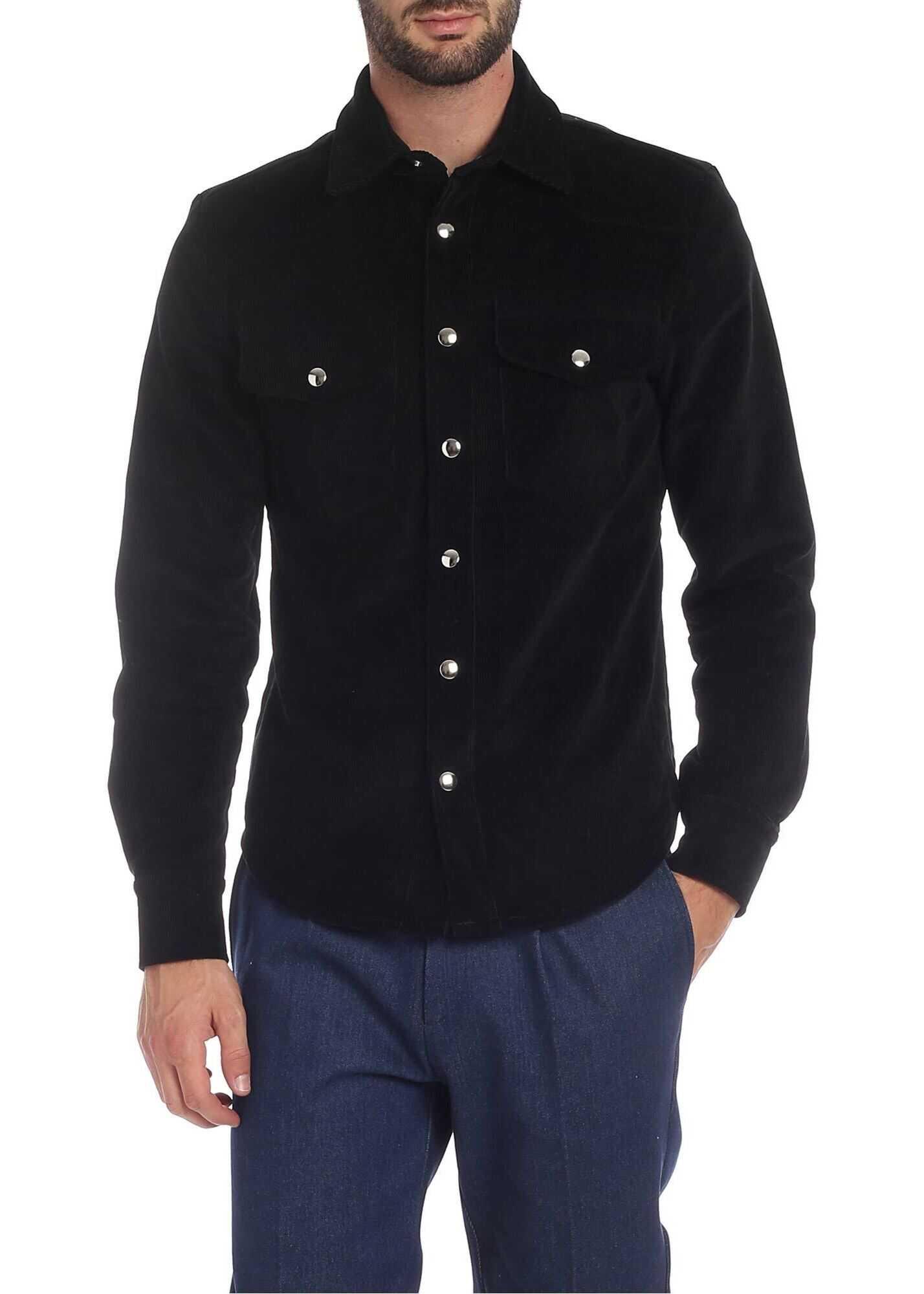 Ribbon Clothing Corduroy Cotton Shirt In Black Black imagine