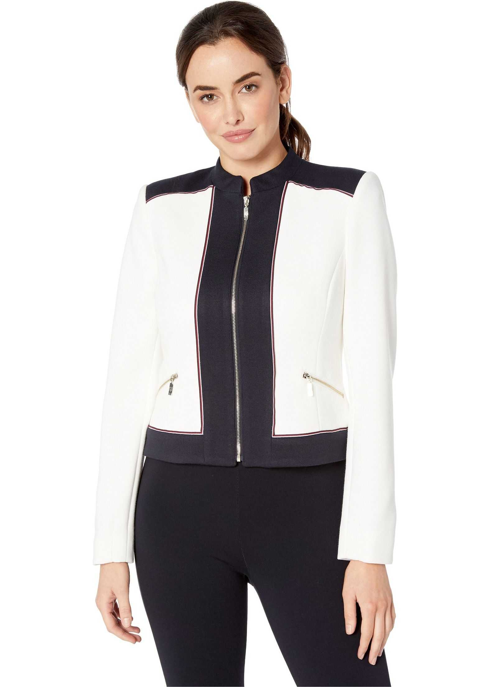 Tommy Hilfiger Color Block Zip Front Jacket Ivory/Midnight