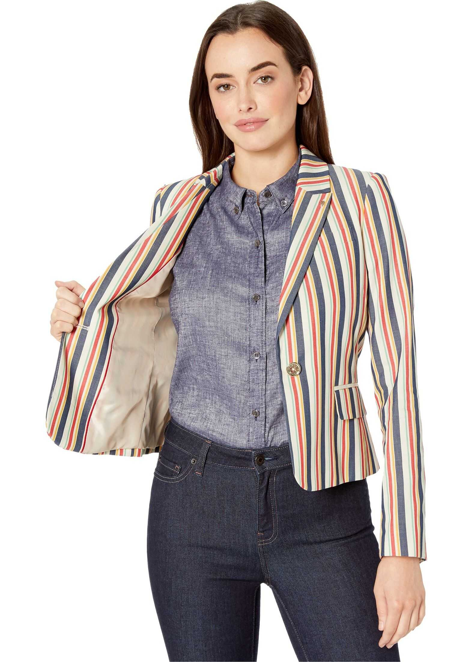 Tommy Hilfiger Multi Stripe One-Button Jacket Khaki Multi
