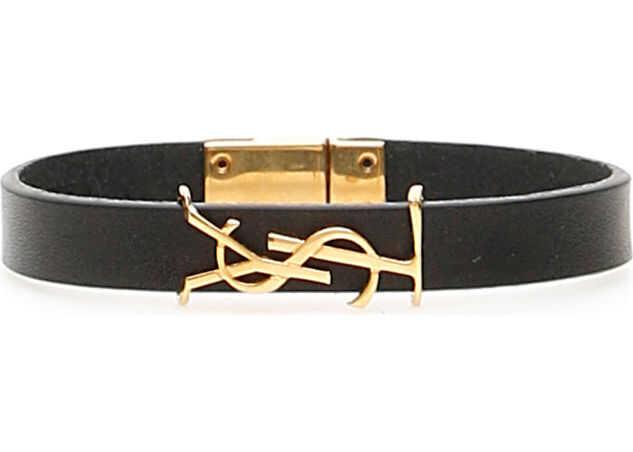 Saint Laurent Leather Ysl Bracelet NERO