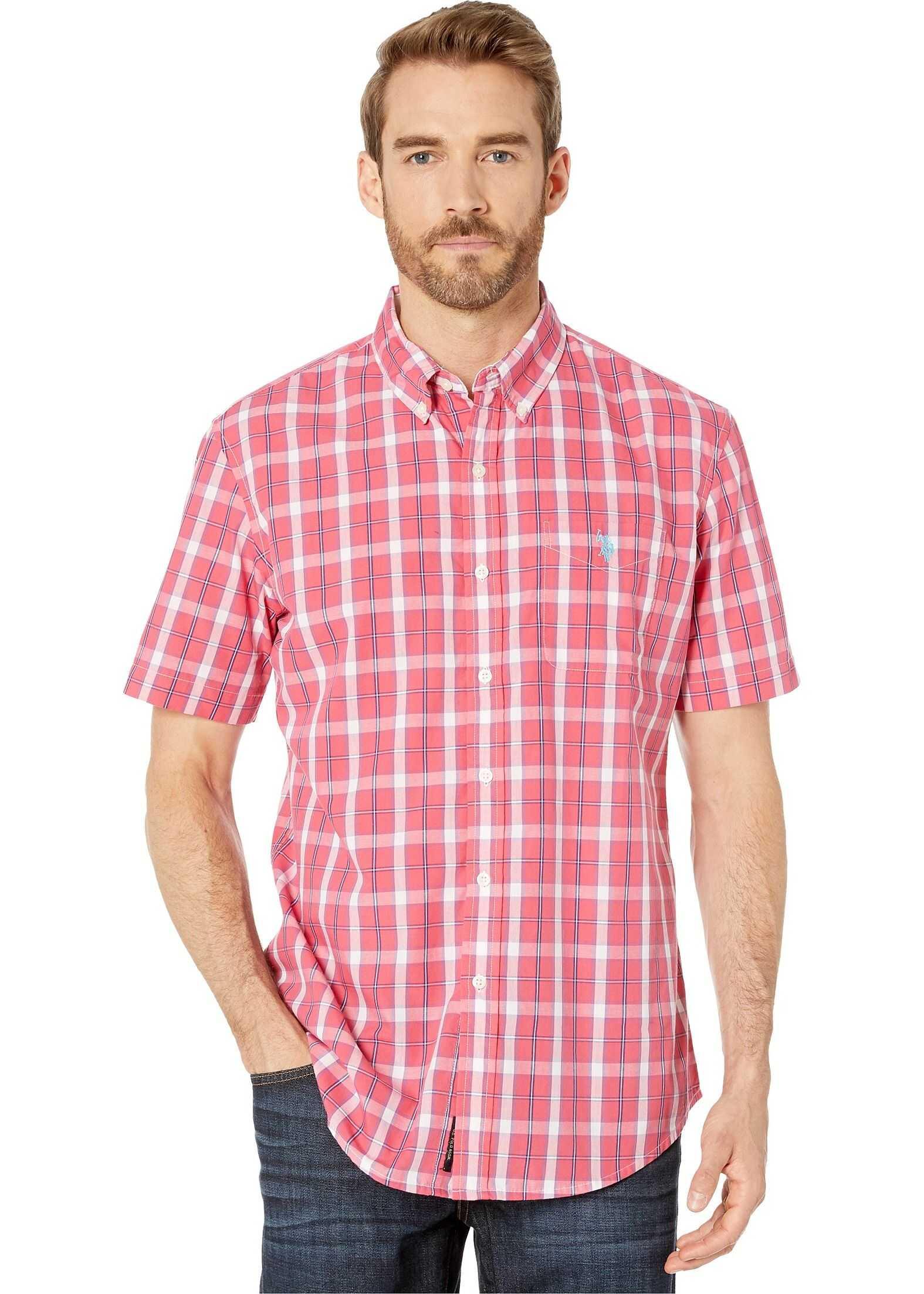U.S. POLO ASSN. Short Sleeve Medium Plaid Woven Celebrity Pink