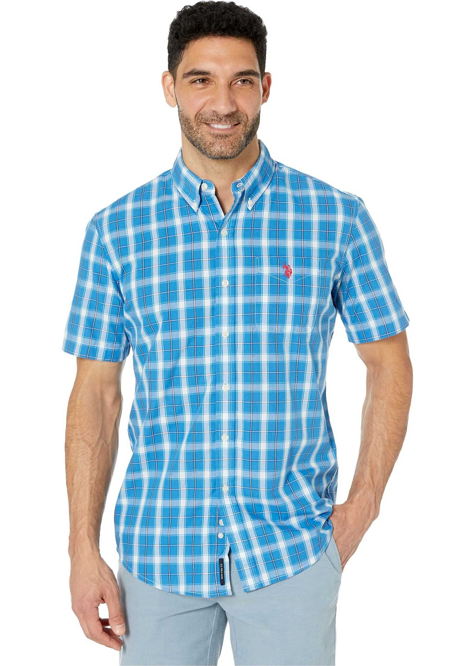 U.S. POLO ASSN. Short Sleeve Medium Plaid Woven Flip-Flop Blue