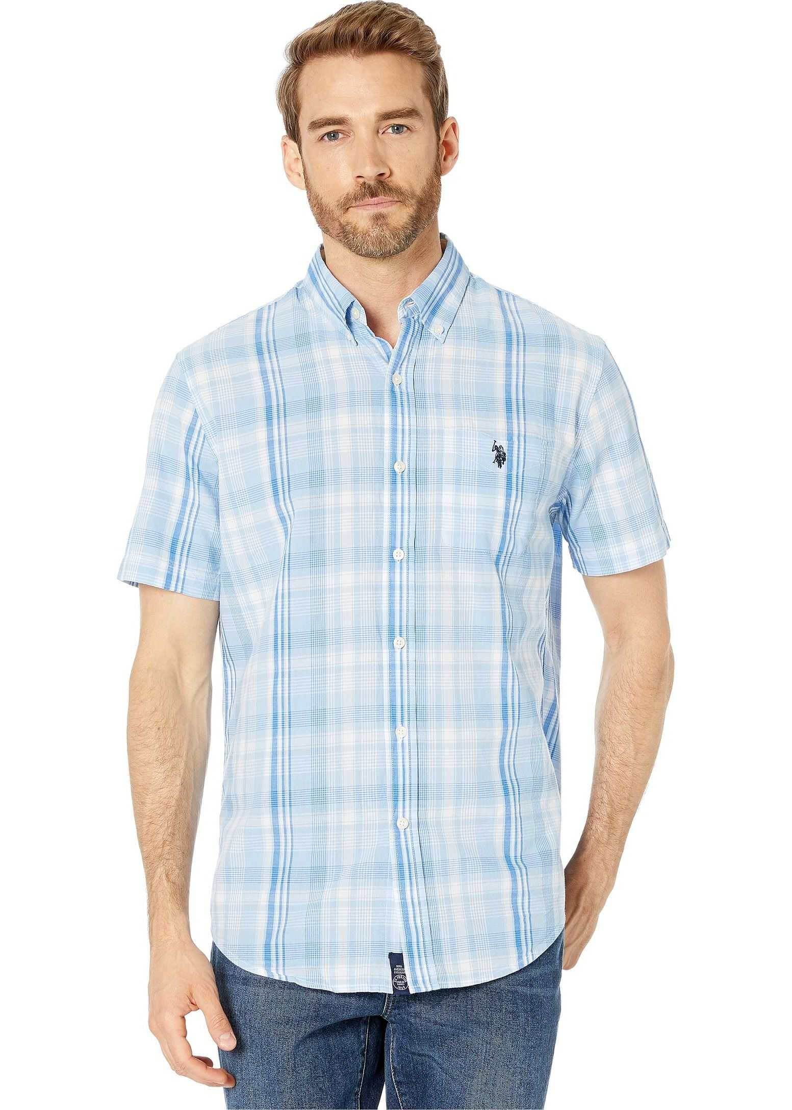 U.S. POLO ASSN. Short Sleeve Medium Plaid Woven Tahoe Blue