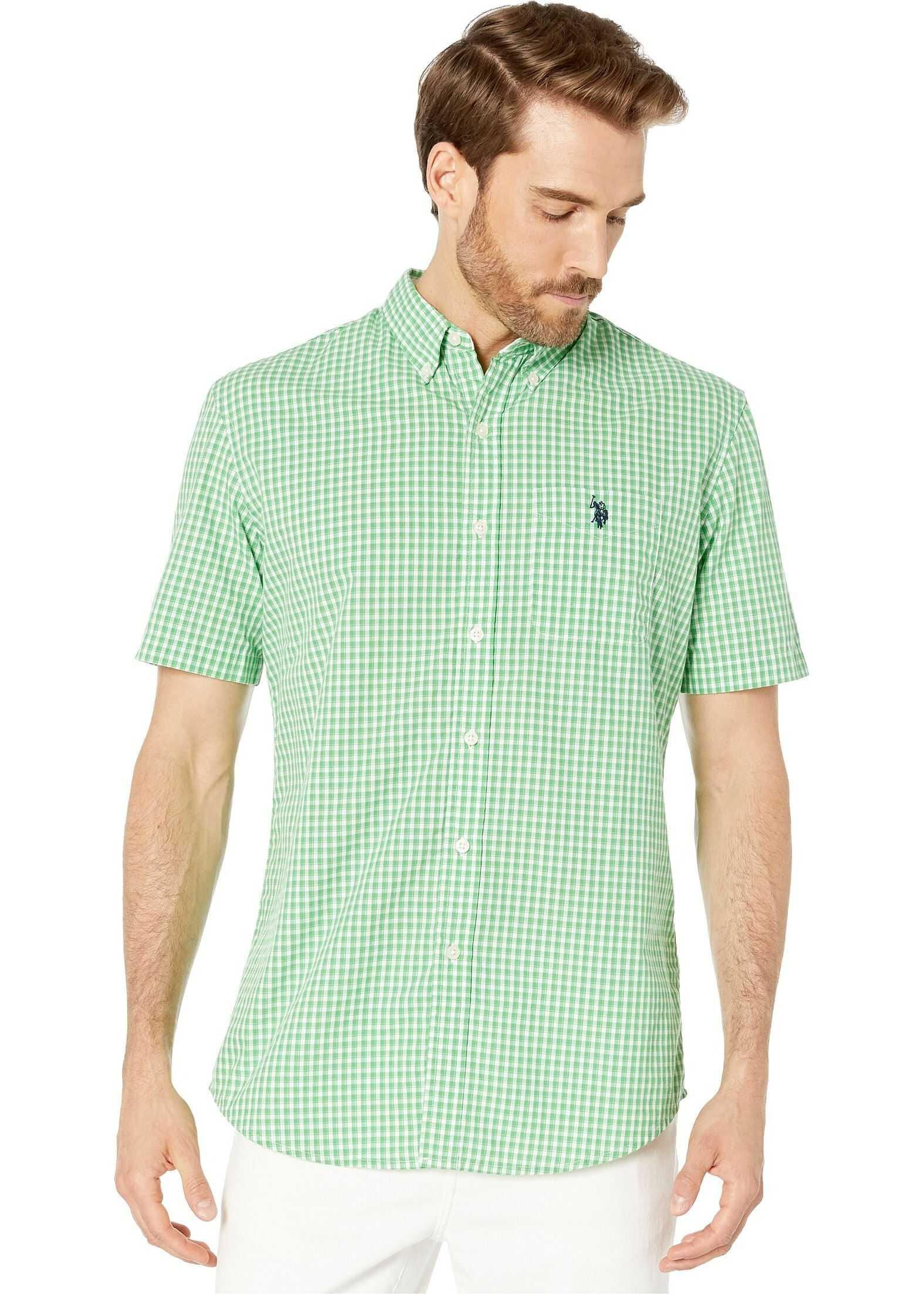 U.S. POLO ASSN. Short Sleeve Gingham Woven Hockney Green