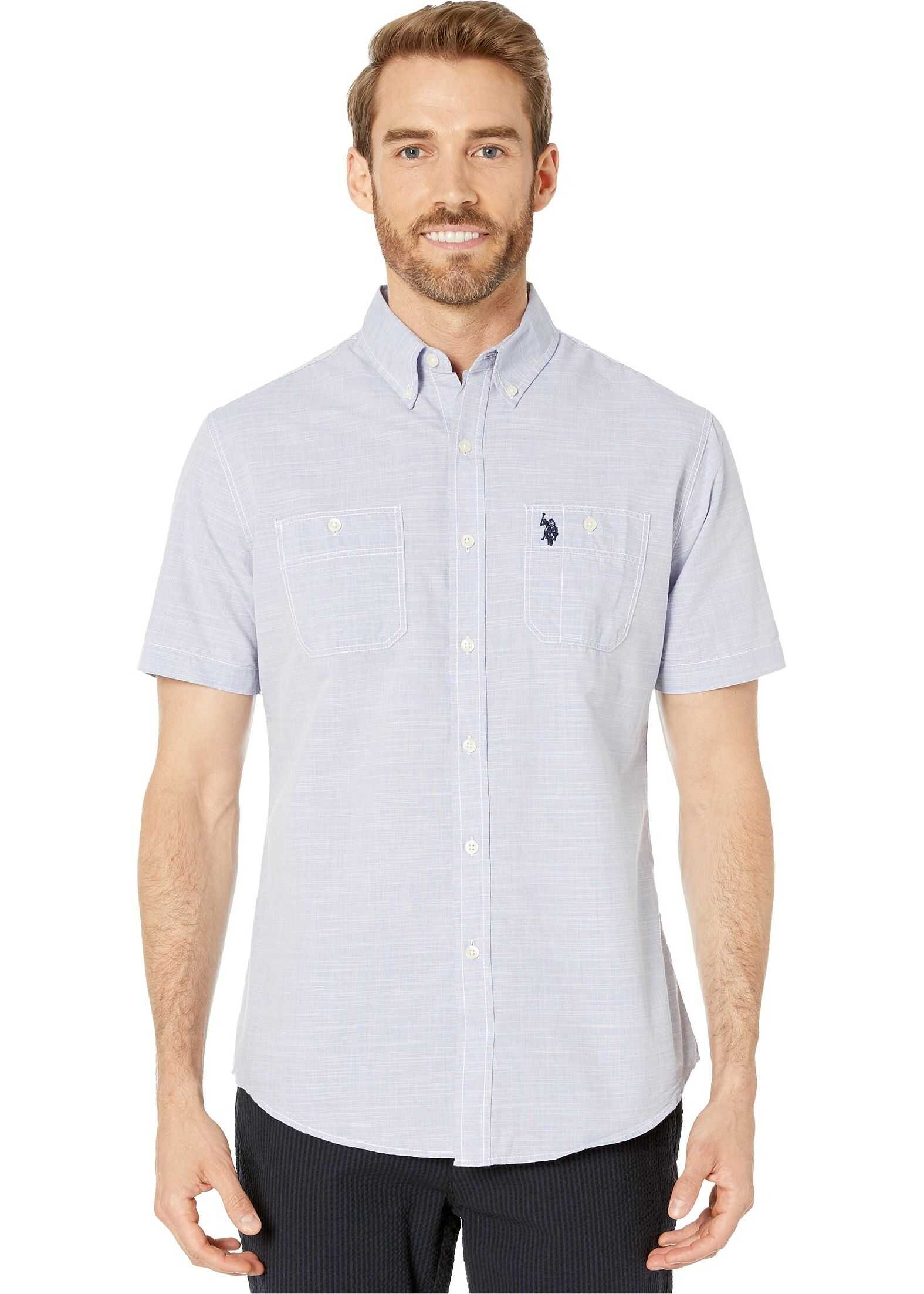 U.S. POLO ASSN. Short Sleeve Woven Wedding Blue