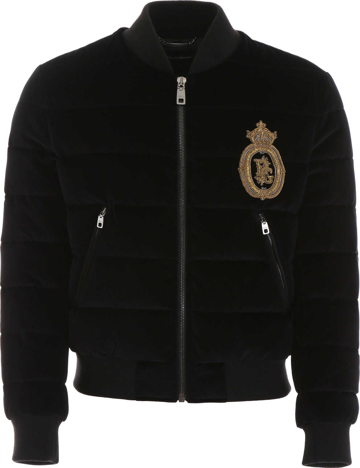 Dolce & Gabbana Velvet Bomber Jacket With Embroidery NERO