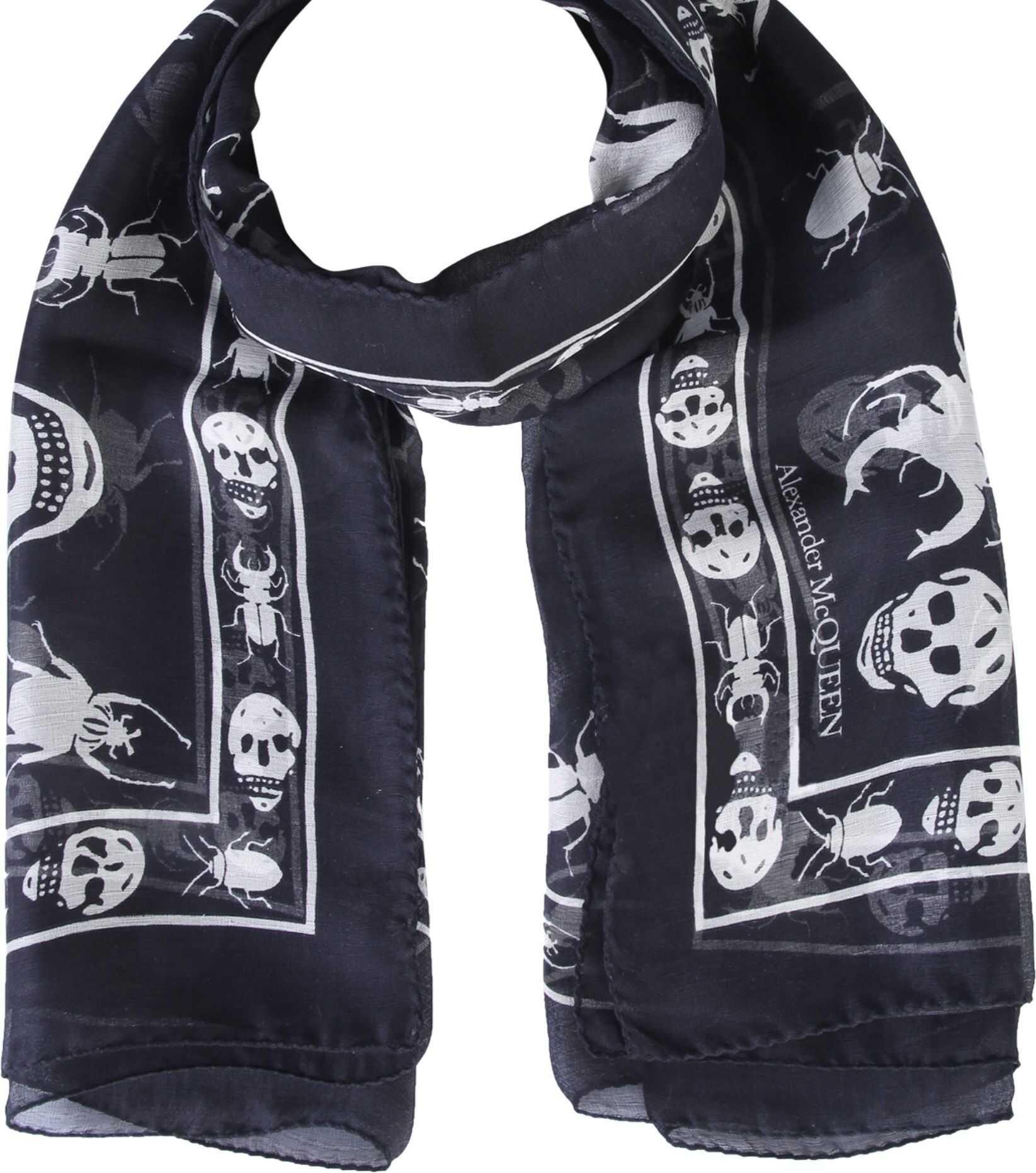 Alexander McQueen Skull Beetle Printed Scarf BLACK