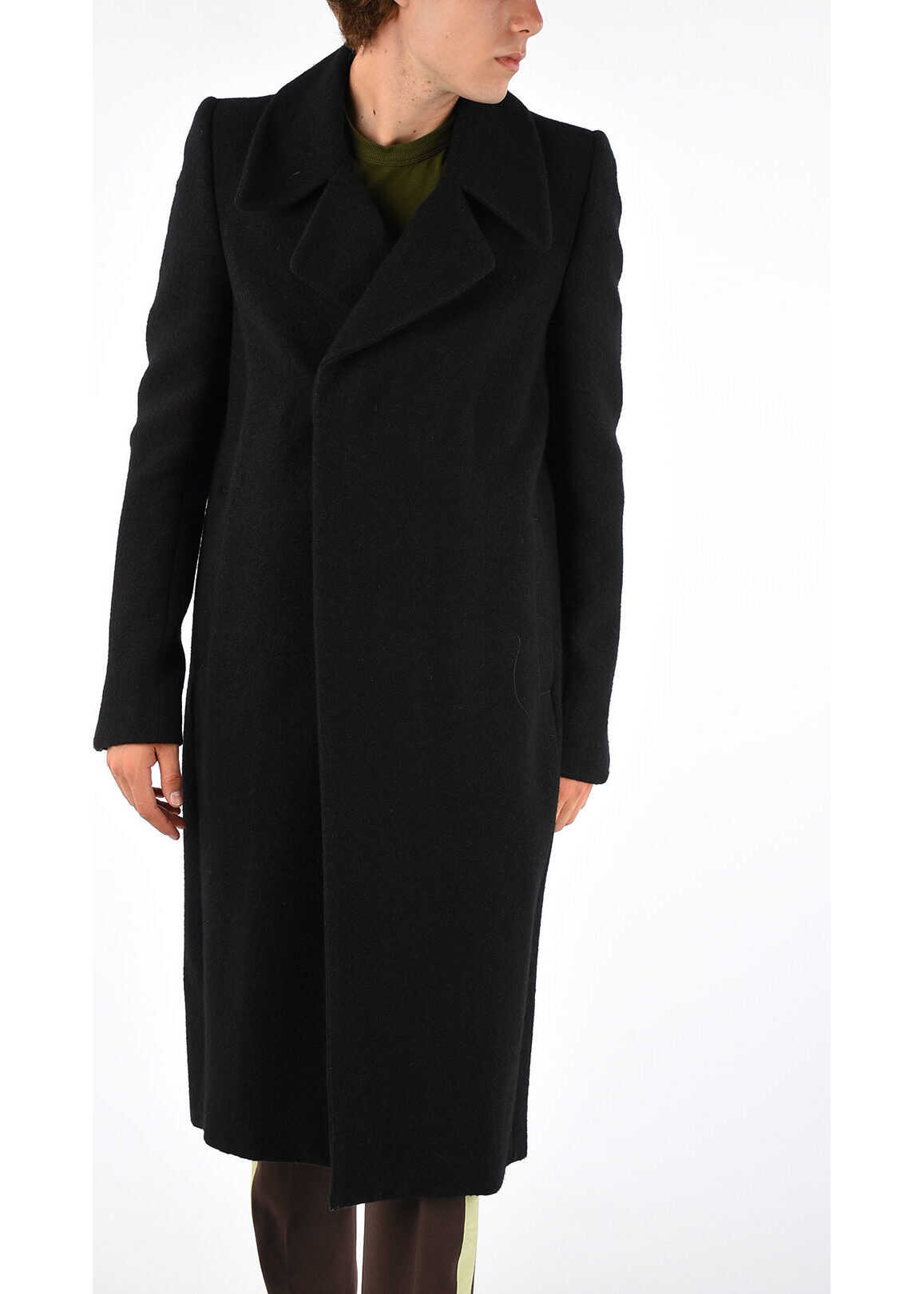 Rick Owens Silk and Wool Coat BLACK