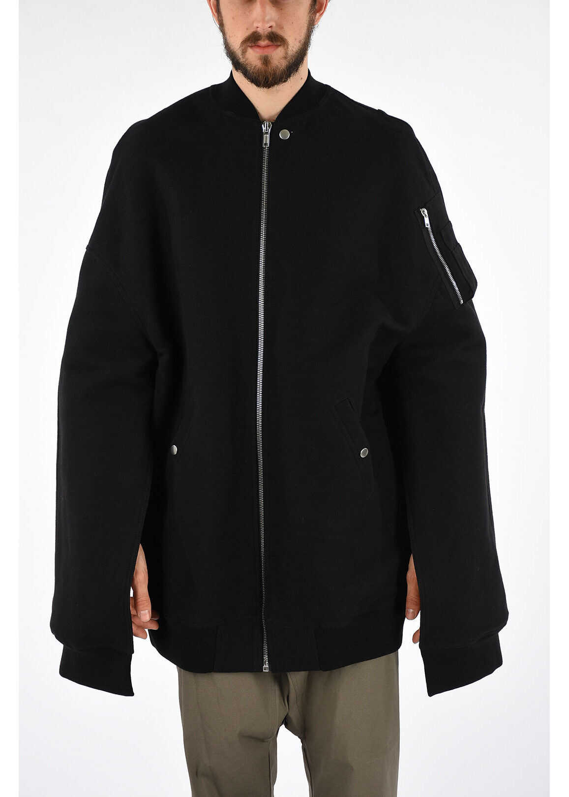 Rick Owens Cotton Silk MOODY FLIGHT Coat BLACK