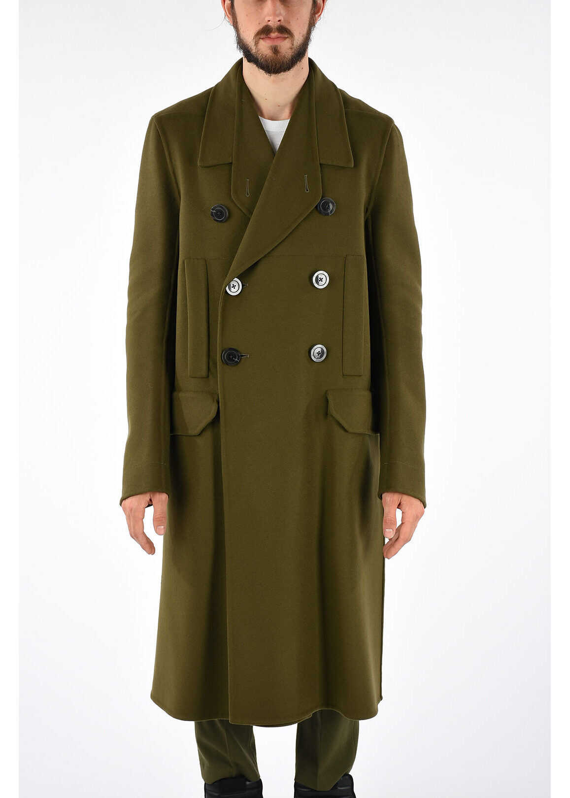 Rick Owens Double Breast OFFICER Coat DIRTY GREEN GREEN