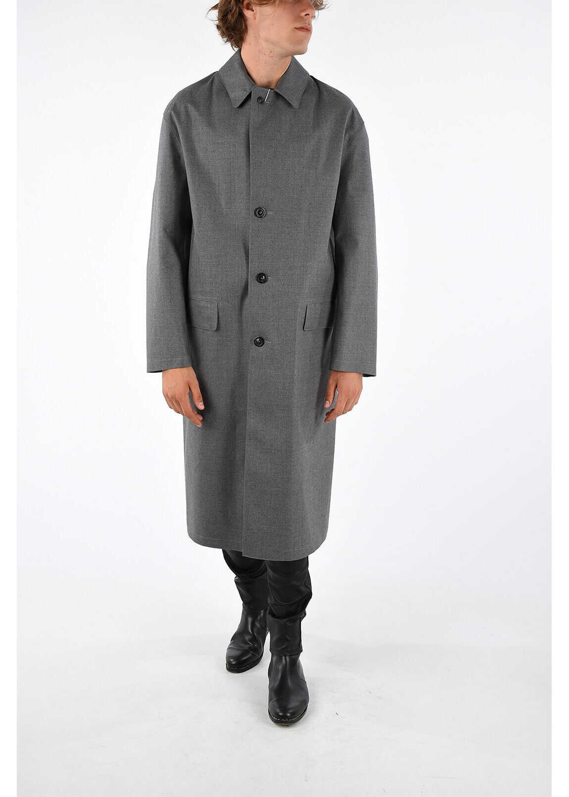 Maison Margiela MM10 MACKINTOSH Wool Cotton Trench GRAY