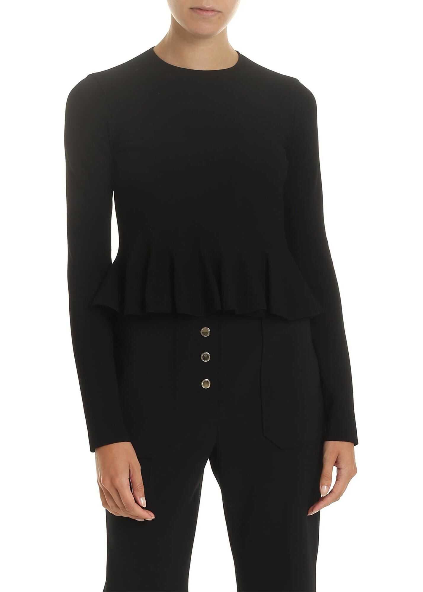 adidas by Stella McCartney Flared Crop Shirt In Black With Pleats Black